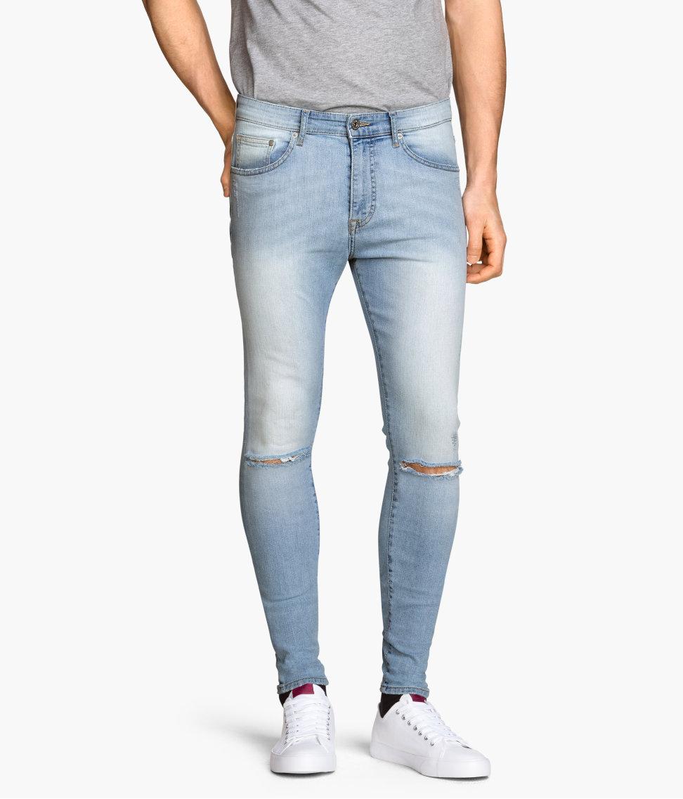 lyst h m super skinny low jeans in blue for men. Black Bedroom Furniture Sets. Home Design Ideas
