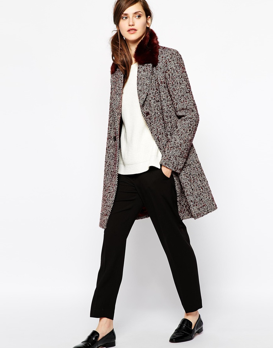 French connection Moscow Tweed Coat with Faux Fur Collar in Purple ...