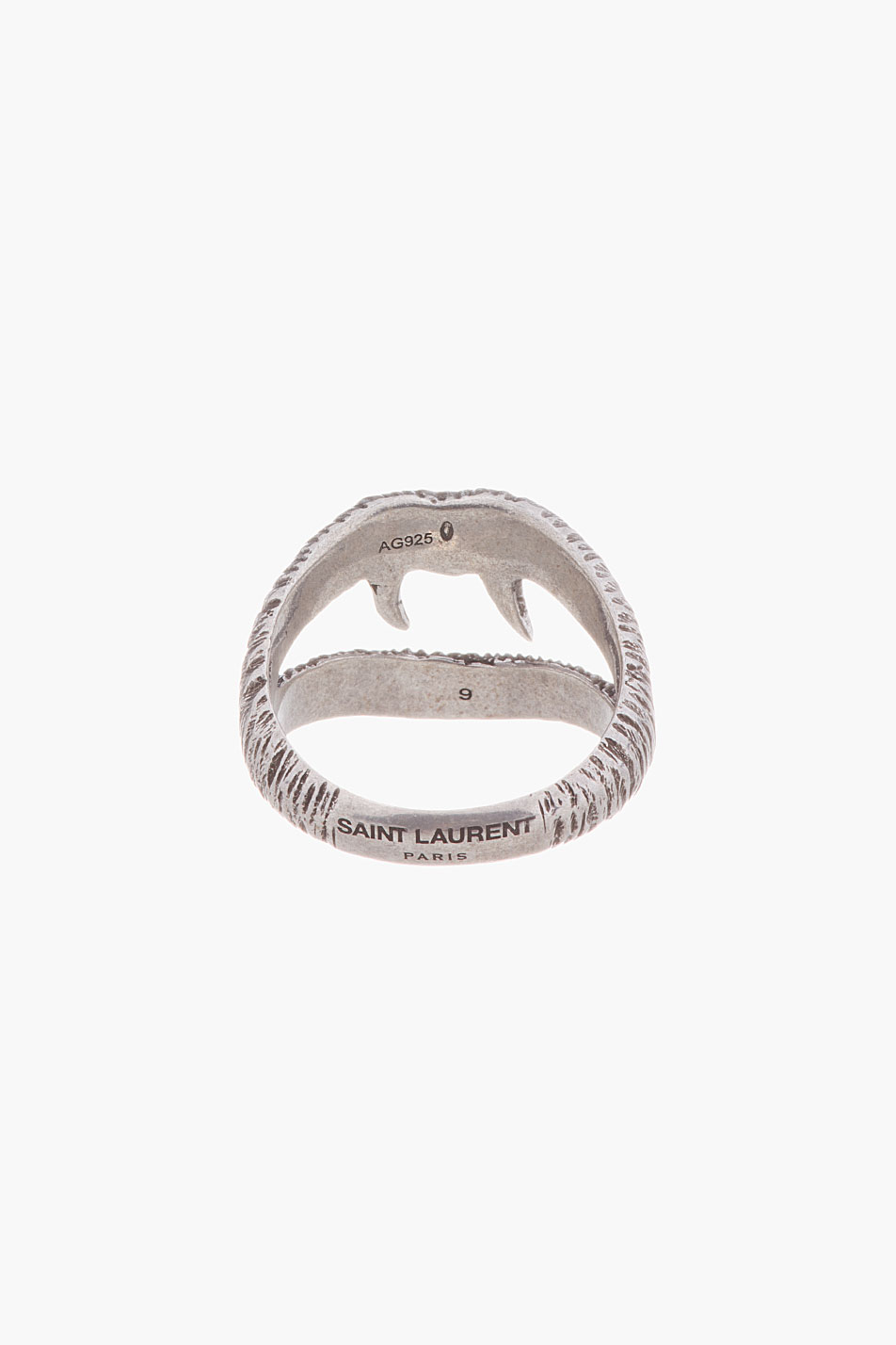 Saint Laurent Distressed Silver Lip Ring In Metallic For