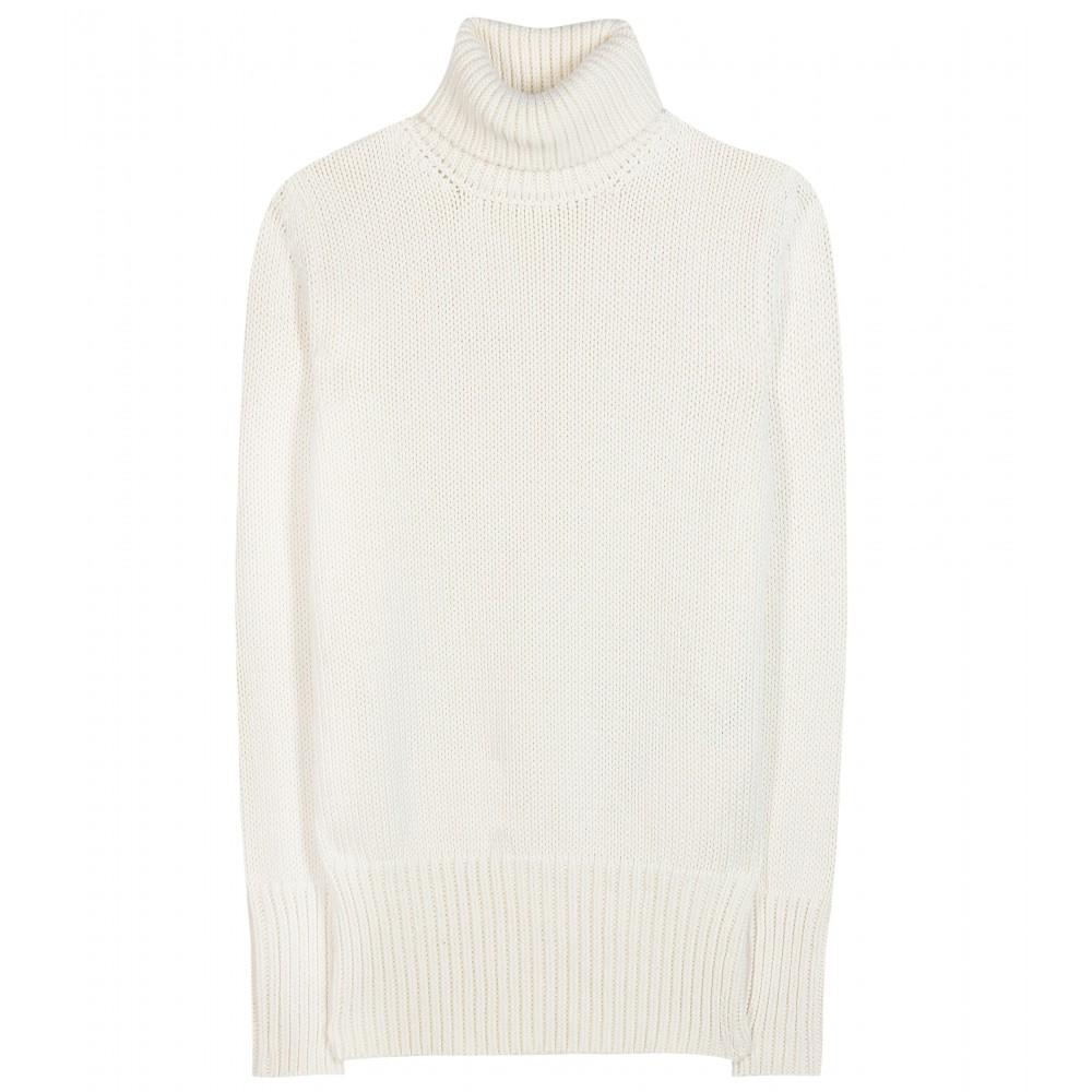 Nina ricci Cotton Turtleneck Sweater in White | Lyst
