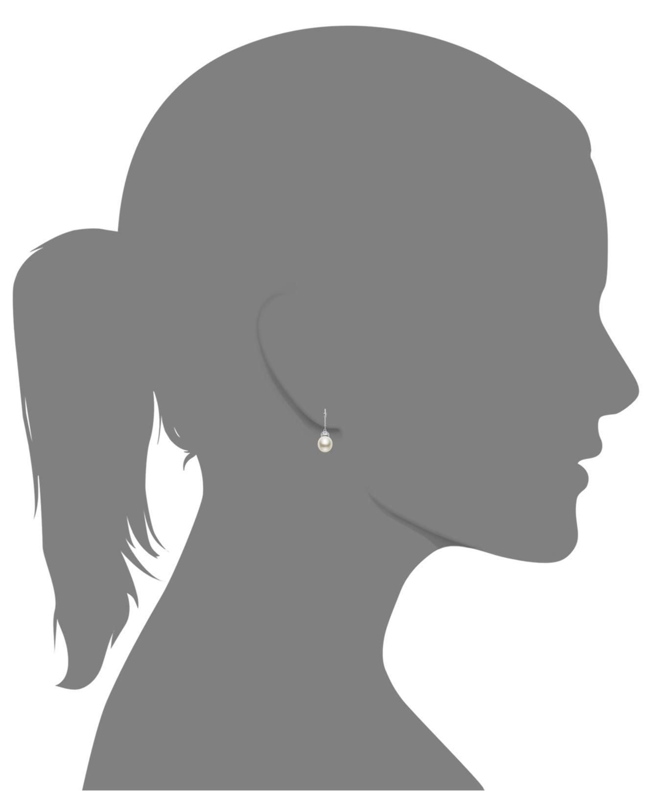 Macy S 14k White Gold Earrings Cultured Freshwater Pearl 11mm