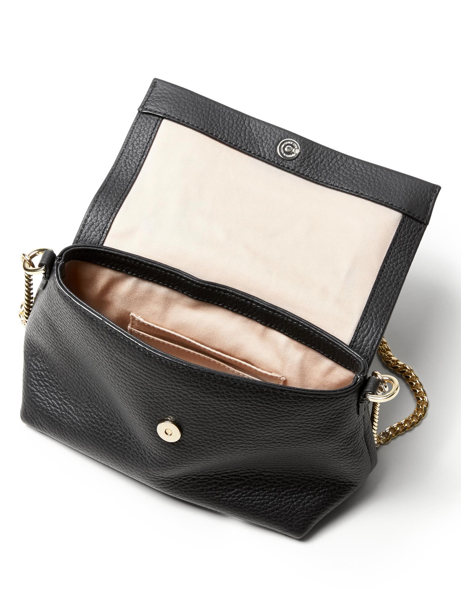 1fb35e3996be Lyst - Banana Republic Italian Leather Chain Bag in Black