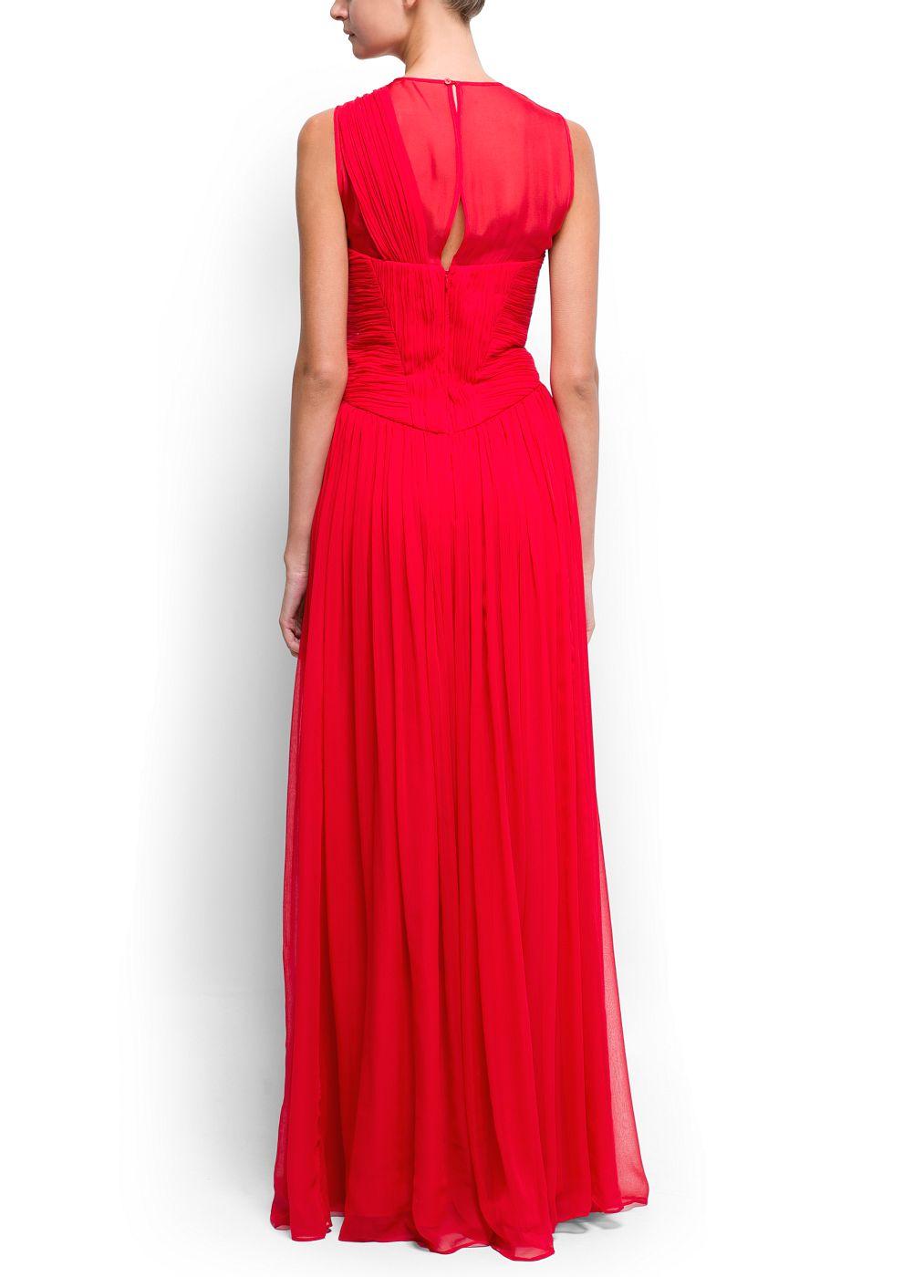 Lyst Mango Draped Long Silk Dress In Red