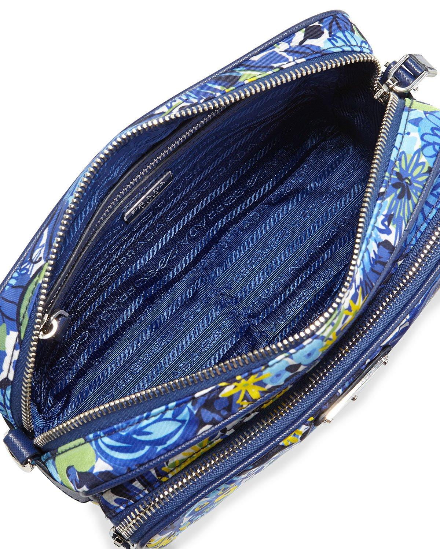 prada burgundy handbag - Prada Tessuto Printed Crossbody Bag in Blue (BLUE FLORAL) | Lyst