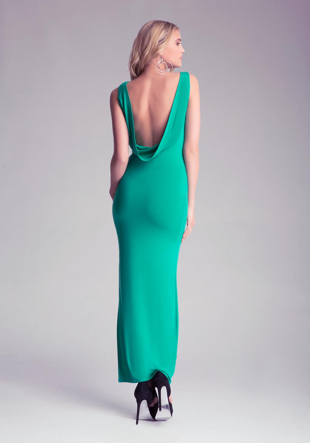 Lyst - Bebe Open Cowl Back Maxi Dress in Green