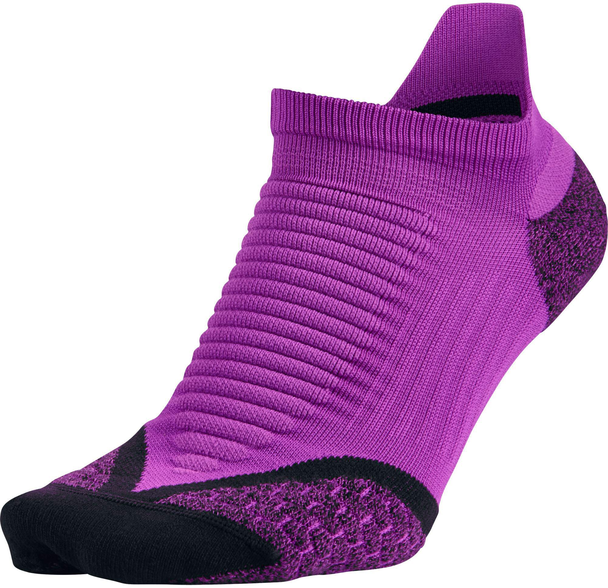Nike Elite Cushioned No Show Tab Vivid Purple/Black Running Socks