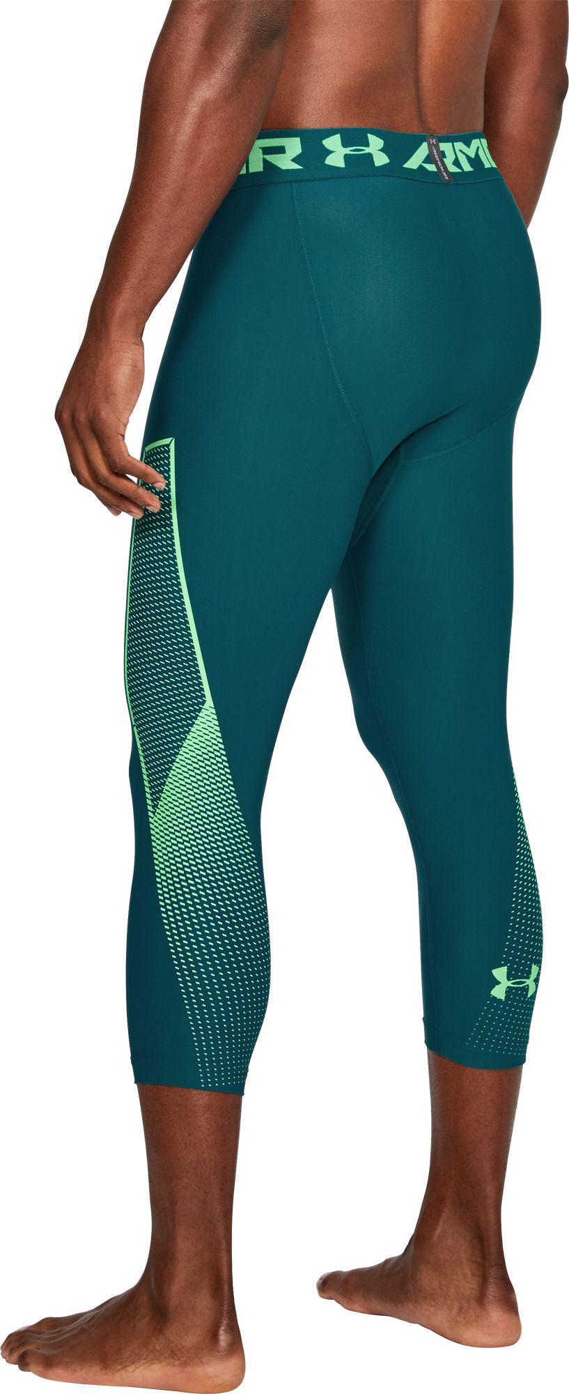 9cac1818996aaf Under Armour - Green Heatgear Armour Graphic 3/4 Length Tights for Men -  Lyst