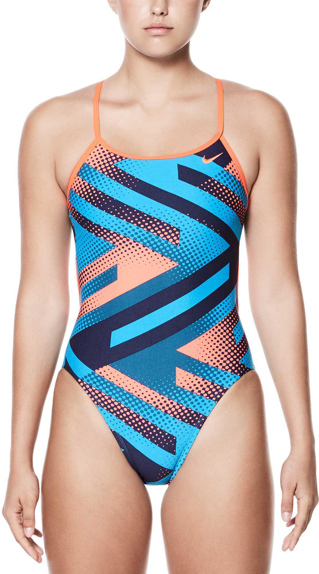 92aa630a3b Lyst - Nike Tidal Riot Modern V-back Swimsuit in Blue