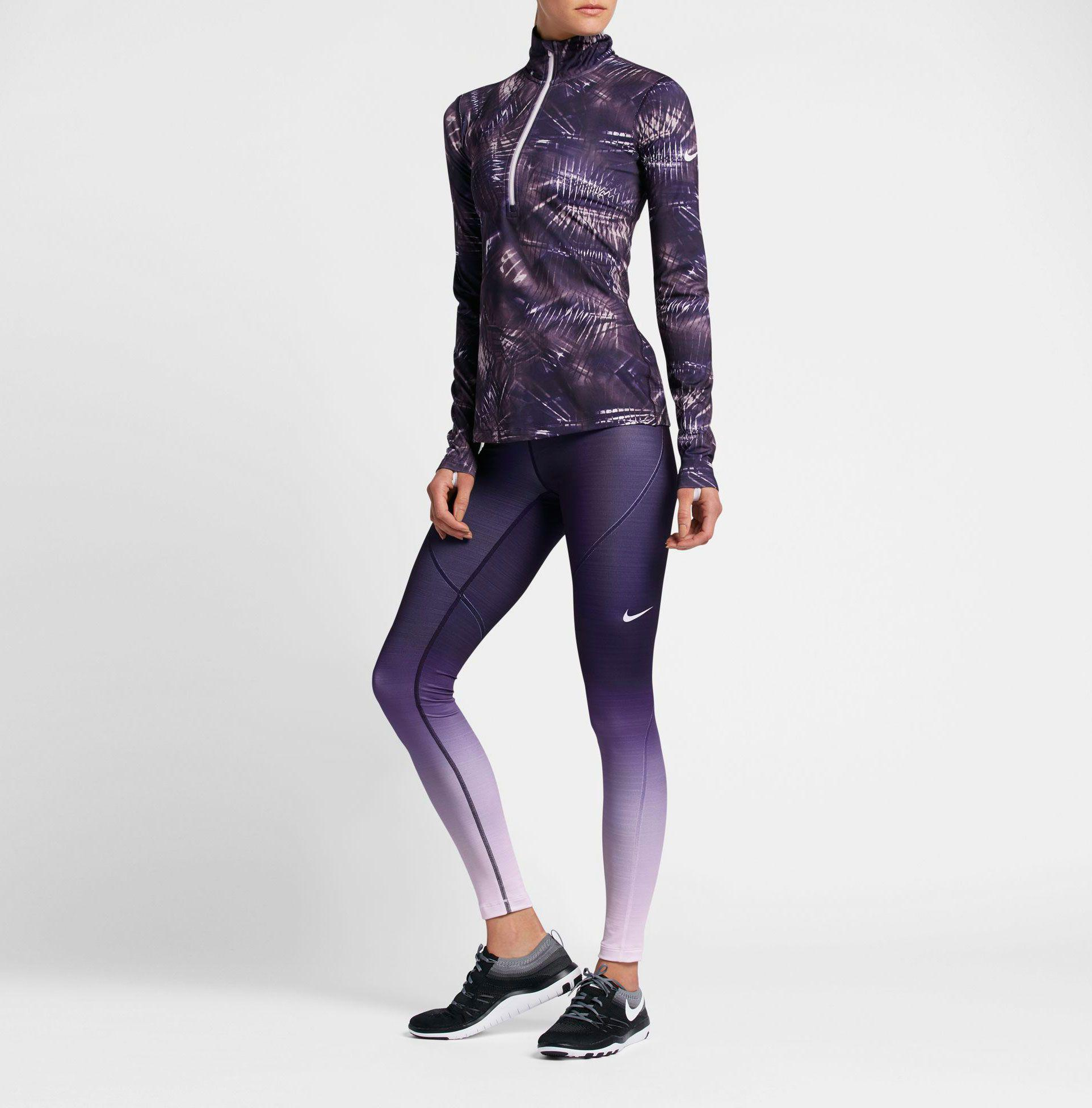 b255cb62ef8a Lyst - Nike Pro Hyperwarm Fade Printed Tights in Purple