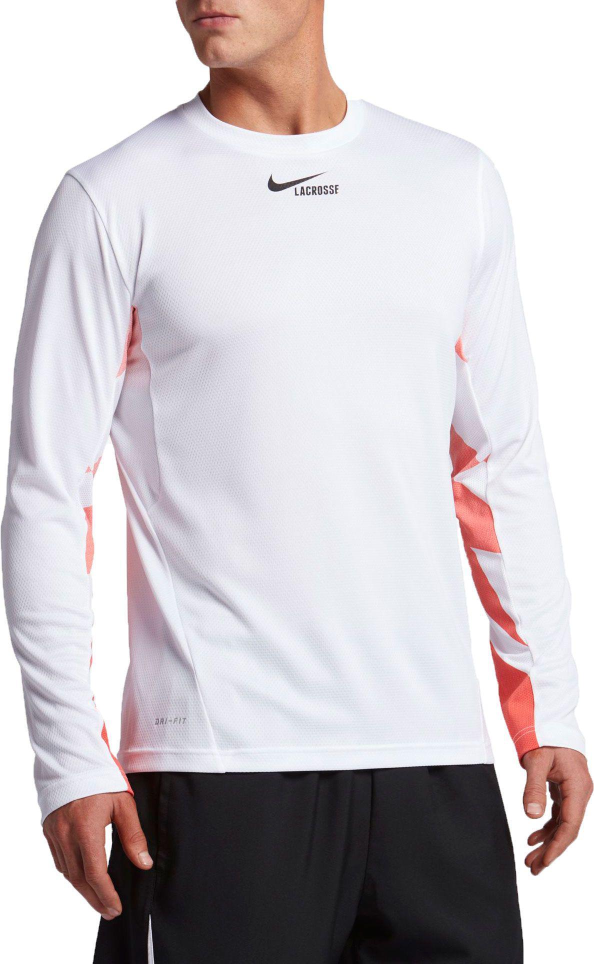 53cc26901180 Nike Dry Fast Break Long Sleeve Lacrosse Shirt in White for Men - Lyst