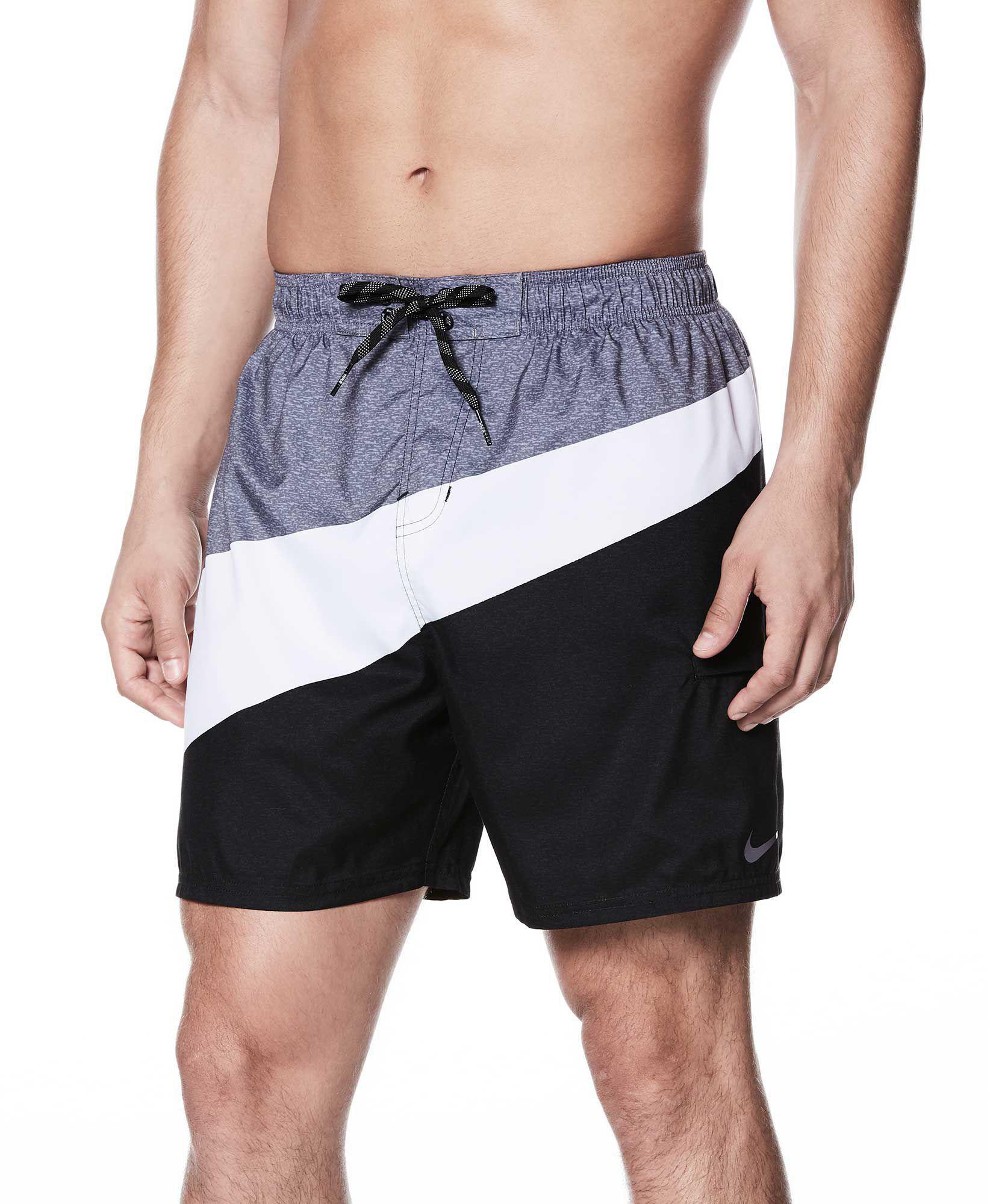 Nike. Men\u0027s Black Macro Swoosh Breaker Swim Trunks