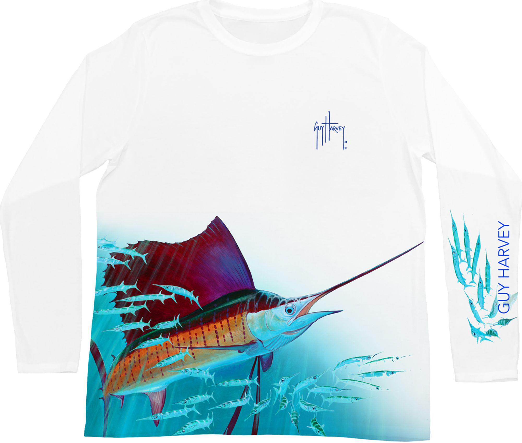 d56b9952 Guy Harvey Out Of The Blue Performance Long Sleeve Shirt in White ...