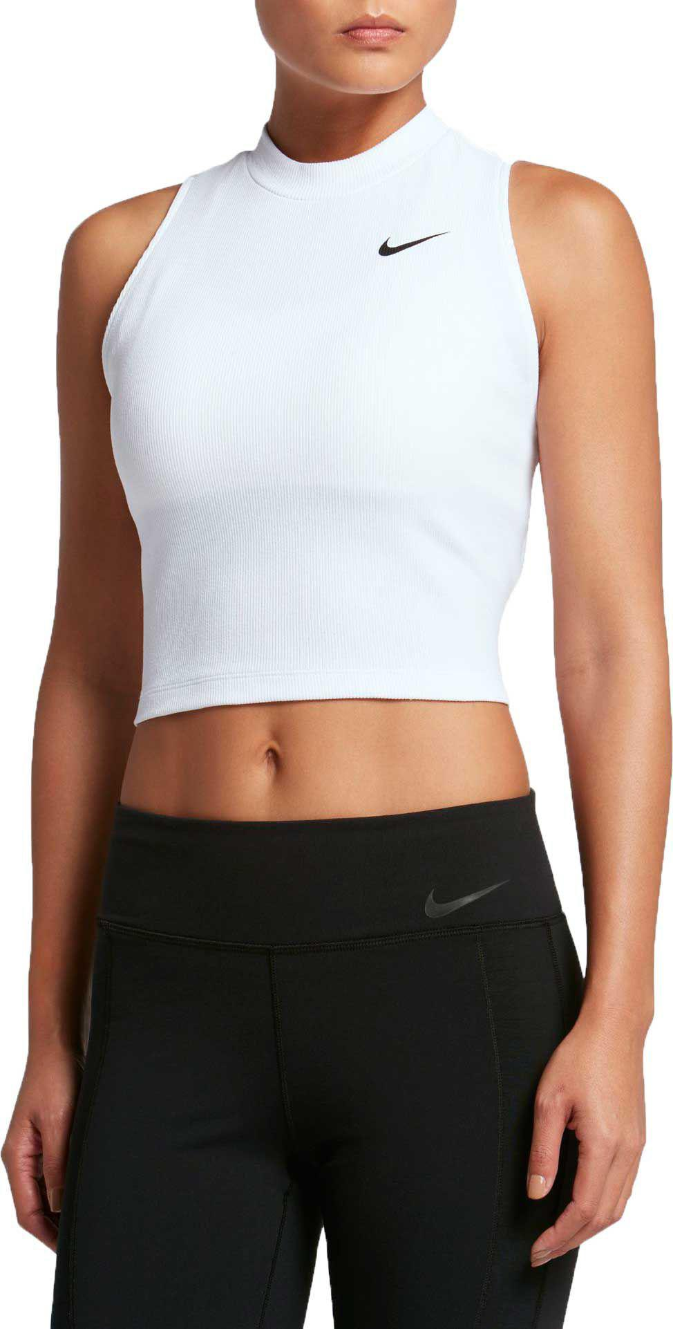 c383d993348 Nike Solid Crop Tank Top in White - Lyst