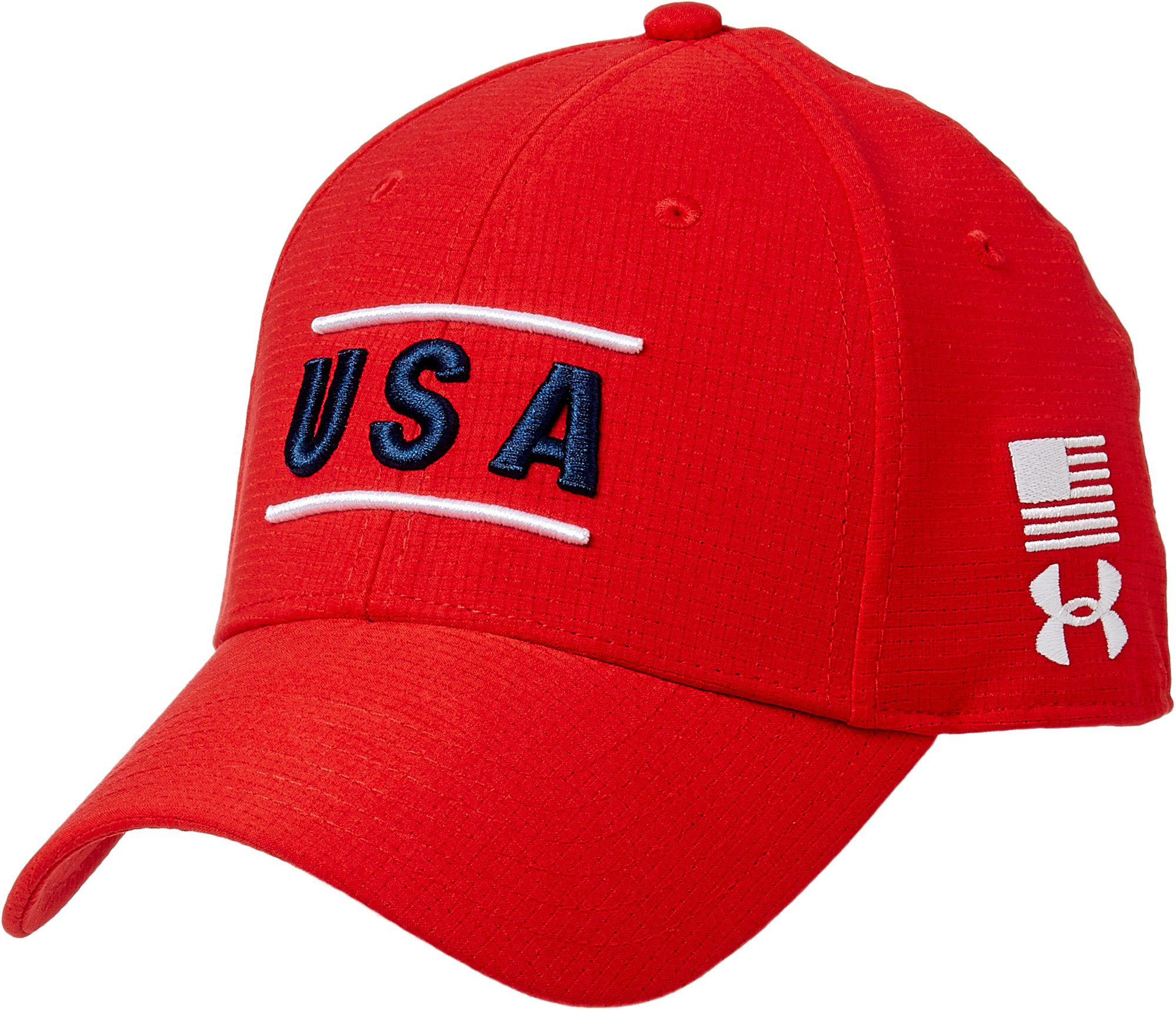 56b86b44a3e ... good under armour. mens red armourvent usa stretch fit hat 9f722 71327