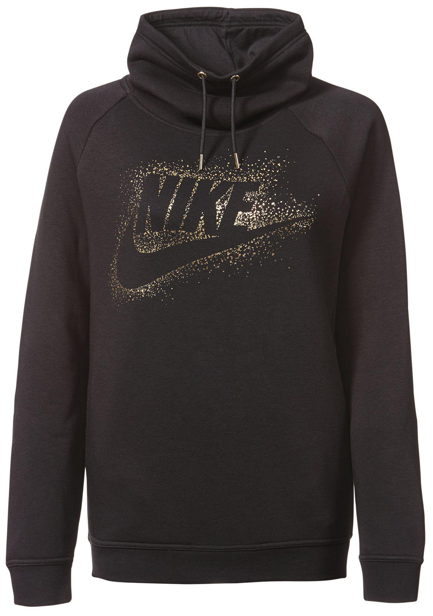 a5e08282e623 Lyst - Nike Sportswear Rally Metallic Funnel Neck Graphic Hoodie in ...