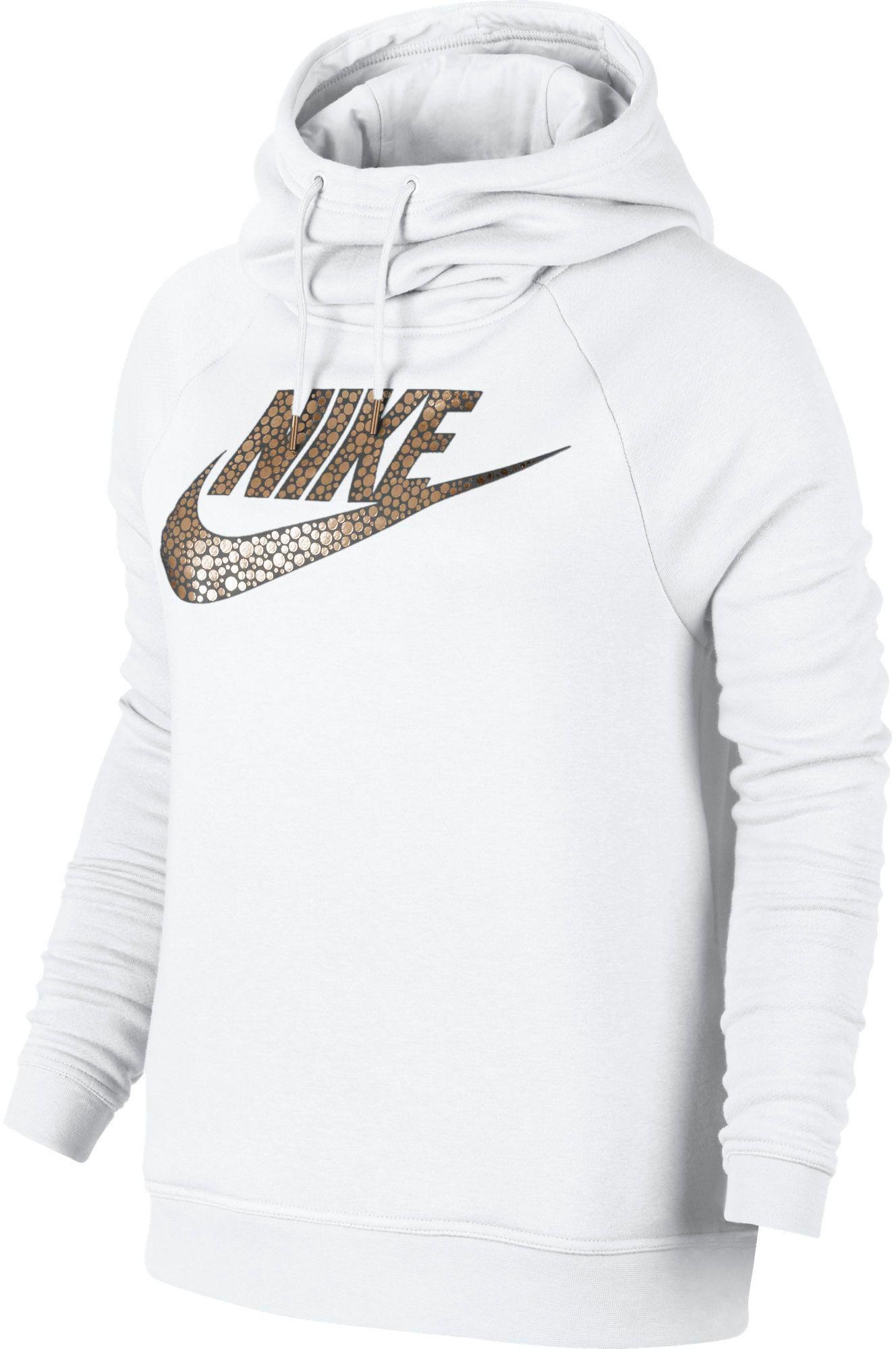 79681ed03886 Nike Sportswear Rally Metal Funnel Neck Hoodie in White - Lyst