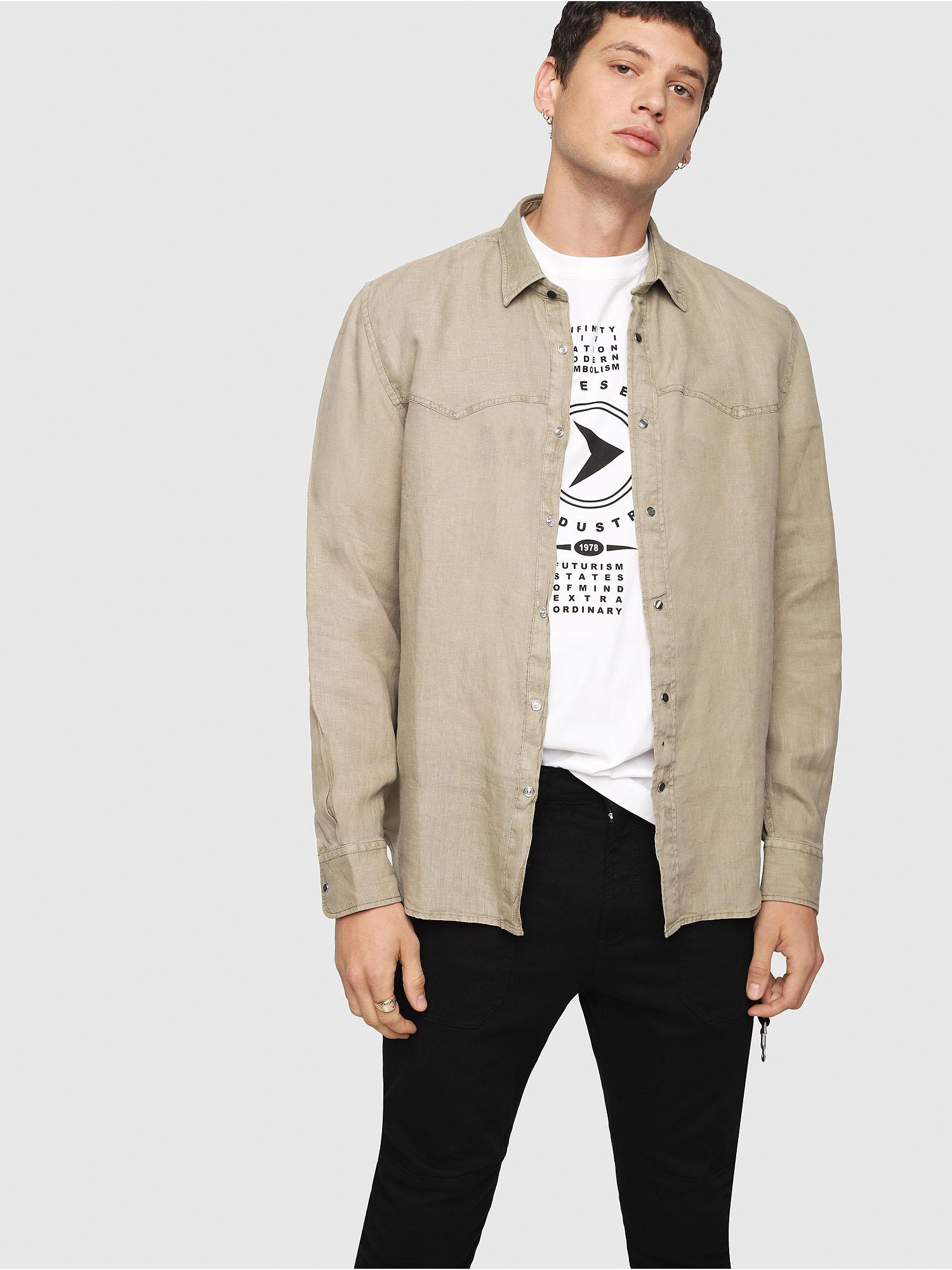 6daf52018f29 Lyst - DIESEL Linen Shirt With Metal Snap Buttons in Natural for Men