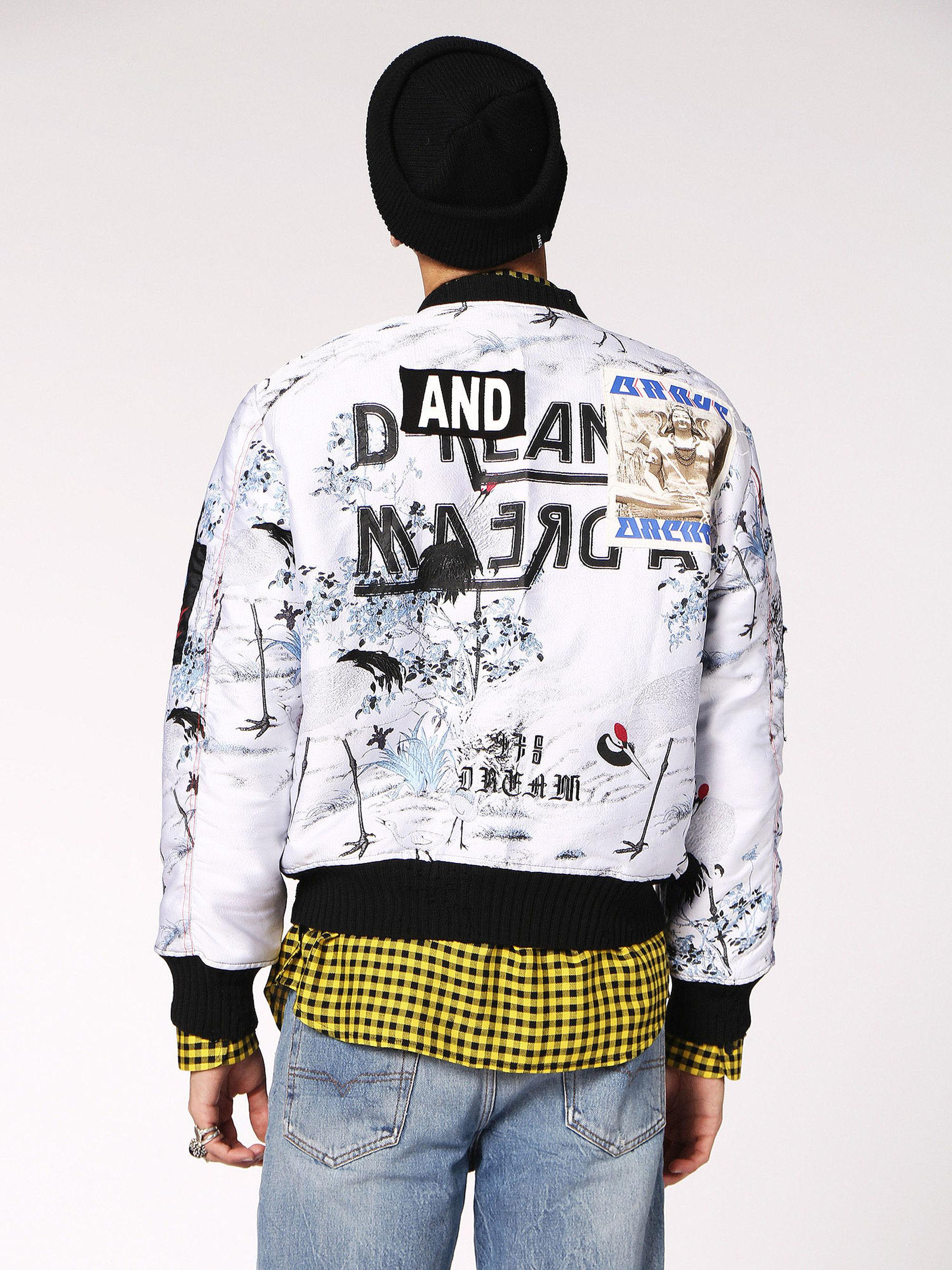 c29c69abe8cc DIESEL - Multicolor Jacquard Bomber Jacket With Graphic for Men - Lyst.  View fullscreen