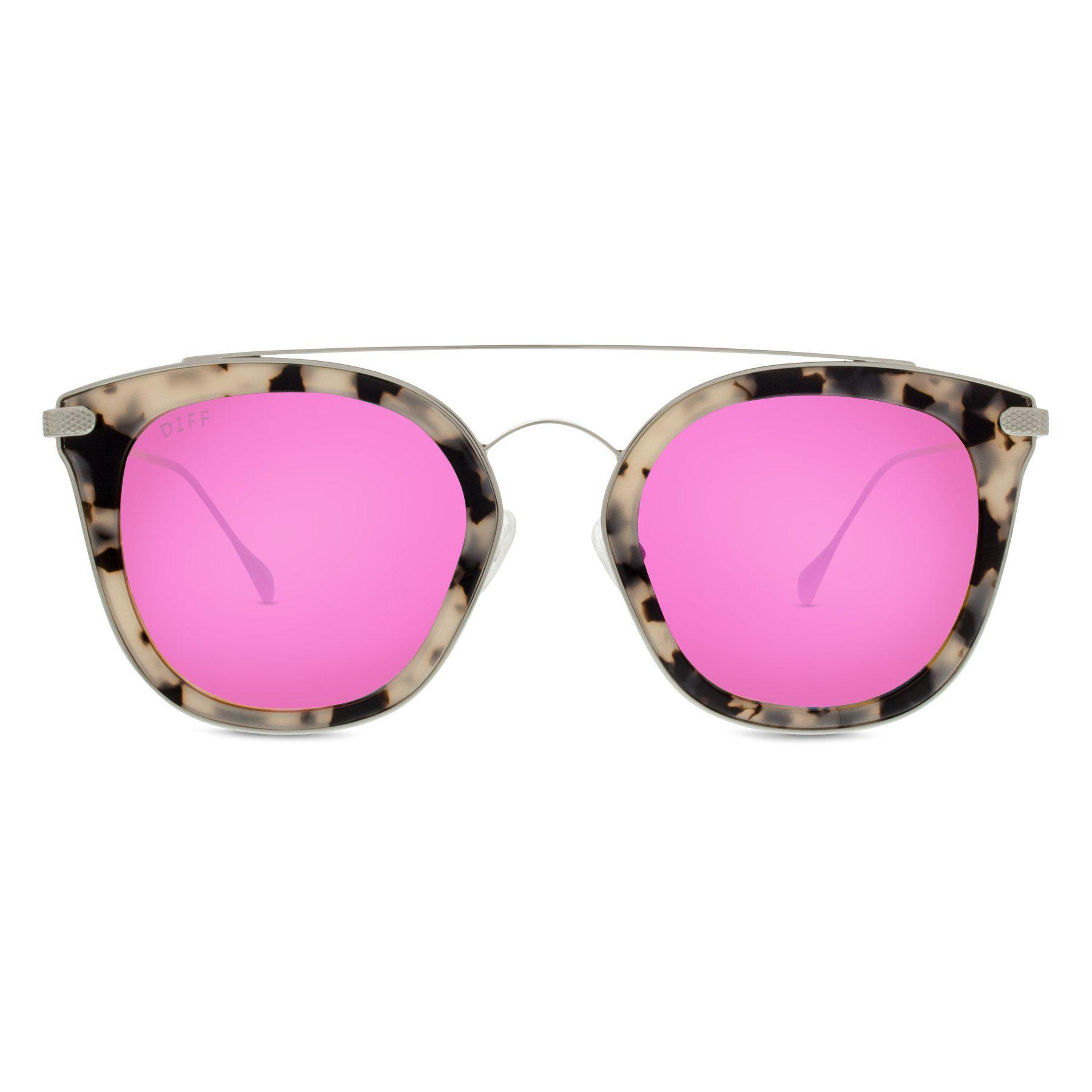 02f3a634a9 Lyst - DIFF Zoey - Cream Tortoise + Pink Mirror + Polarized in Pink
