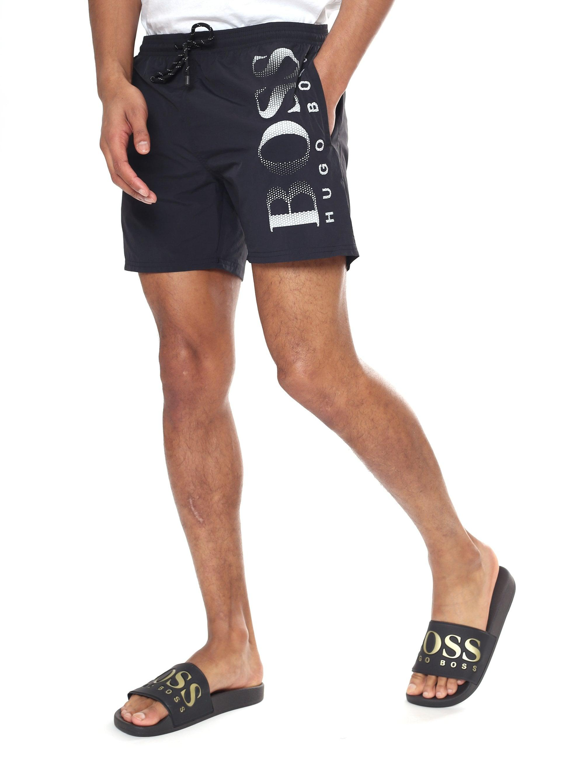 9fdcd30e5 BOSS by Hugo Boss 'octopus' Logo Print Swim Shorts in Black for Men - Lyst