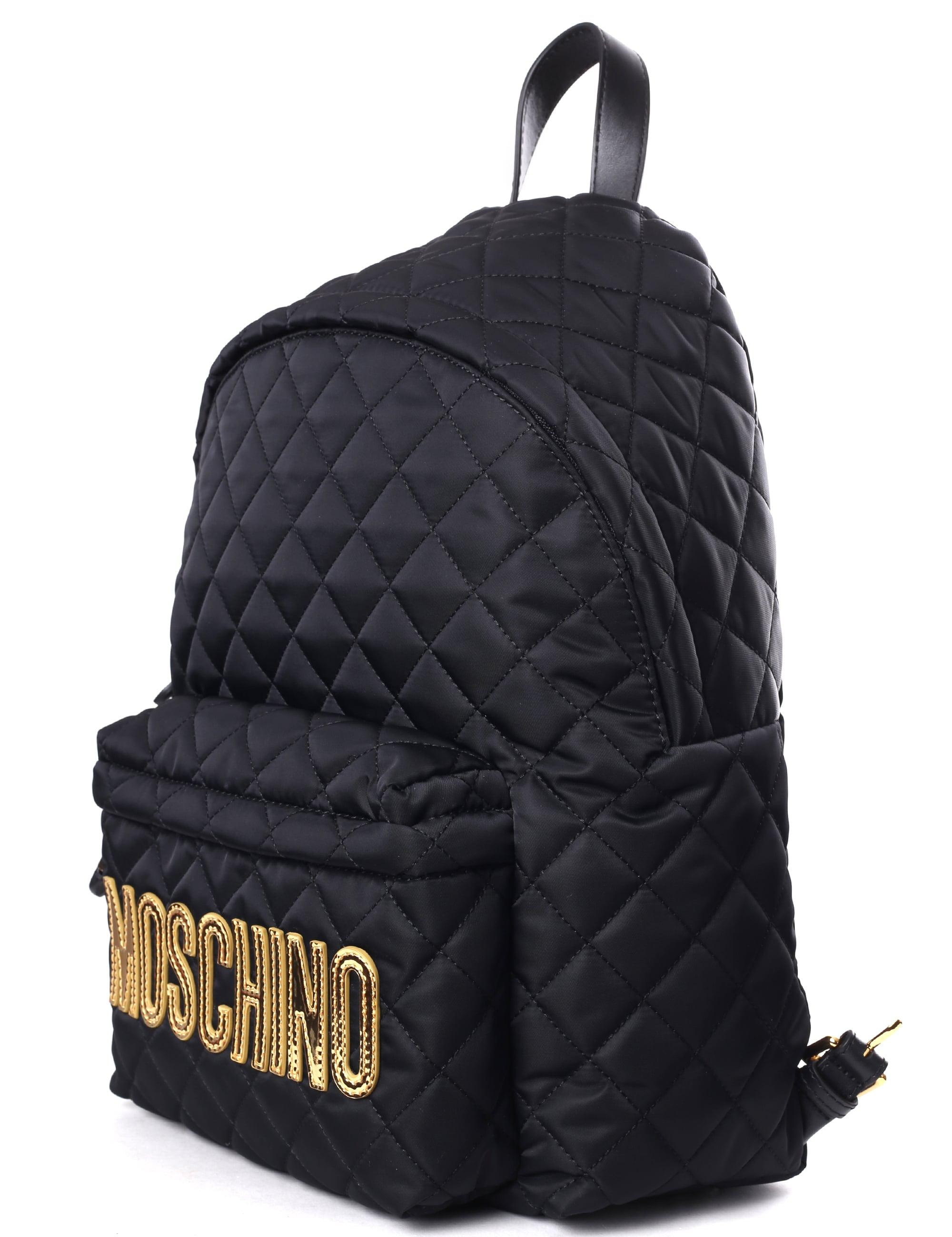 96fa888698 Moschino Couture Quilted Women s Logo Backpack Black in Black - Lyst