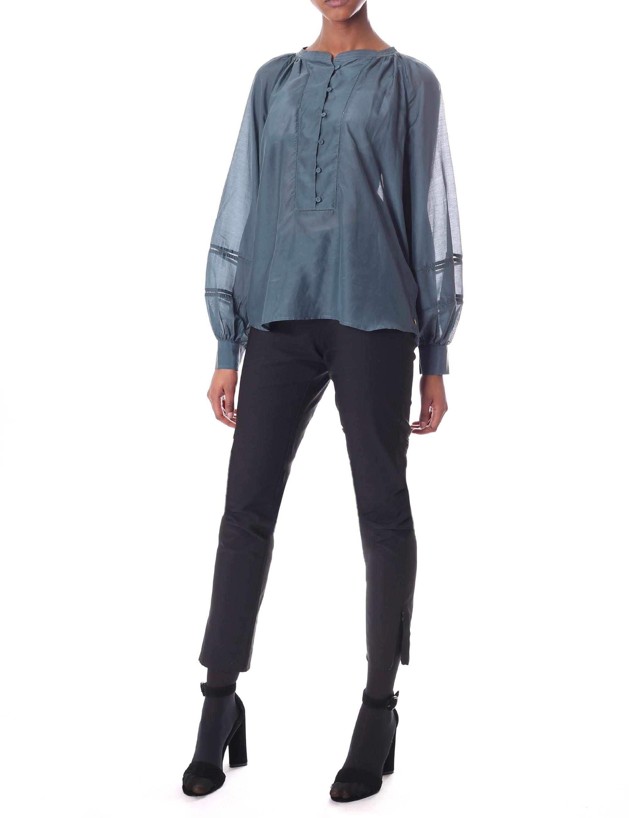 2e1b08d6a4d Maison Scotch Women's Cotton Silk Tunic Top Petrol Green in Blue - Lyst