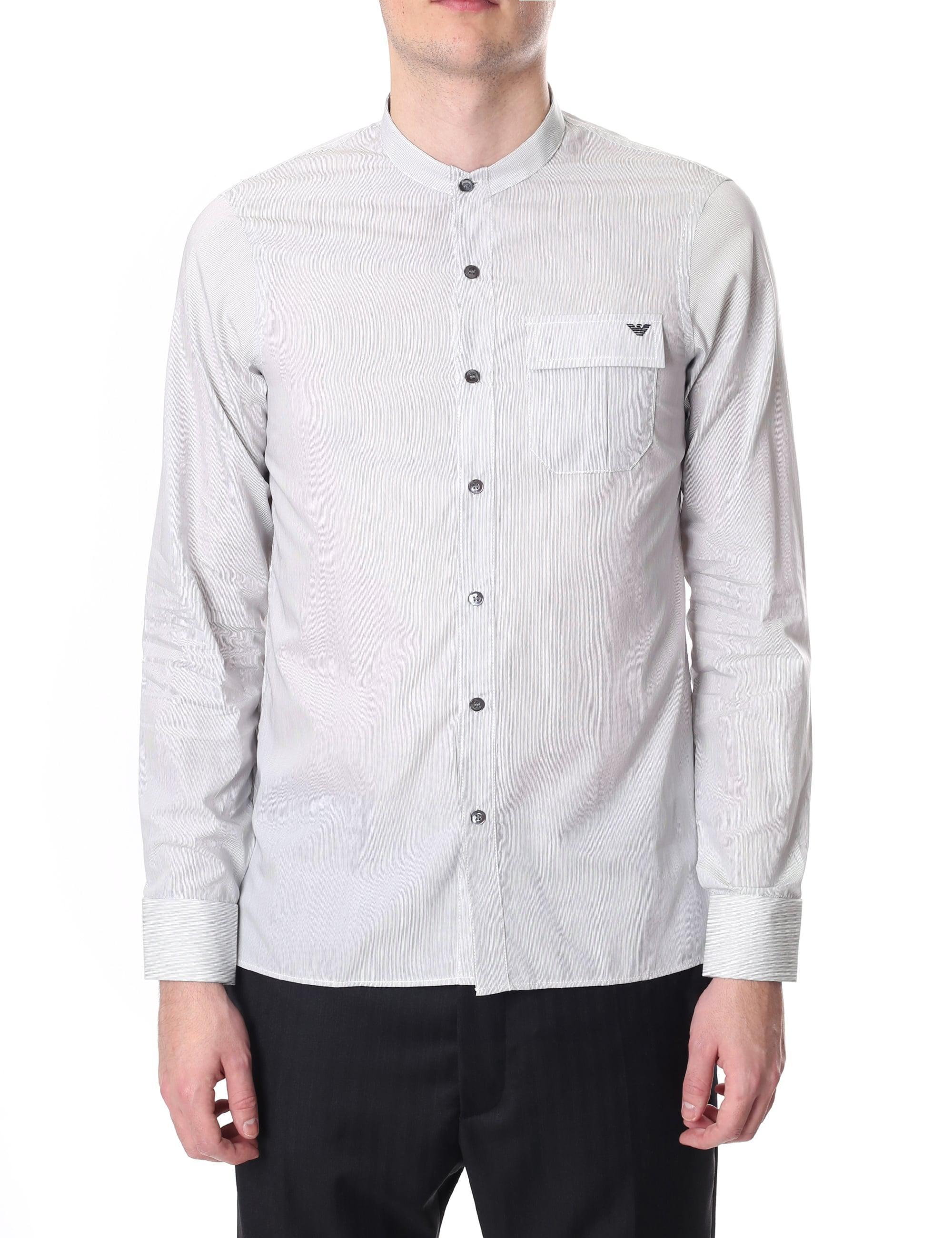 7662a65263 Emporio Armani. Men s Regular Fit Long Sleeve Shirt Stripe Optical White   Black
