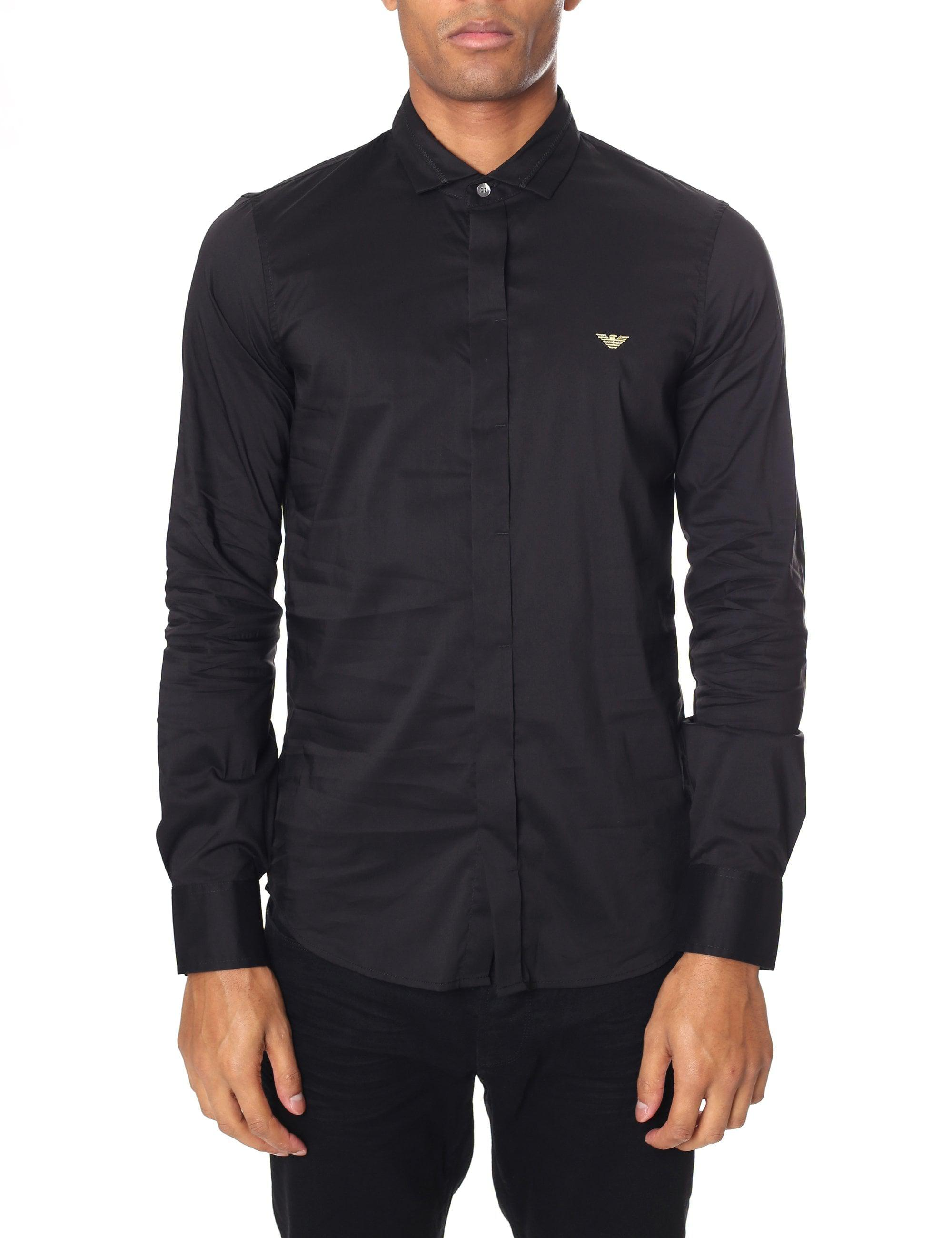 b3f9eea9d0 Armani Jeans Knitted Collar Long Sleeve Shirt in Black for Men - Lyst