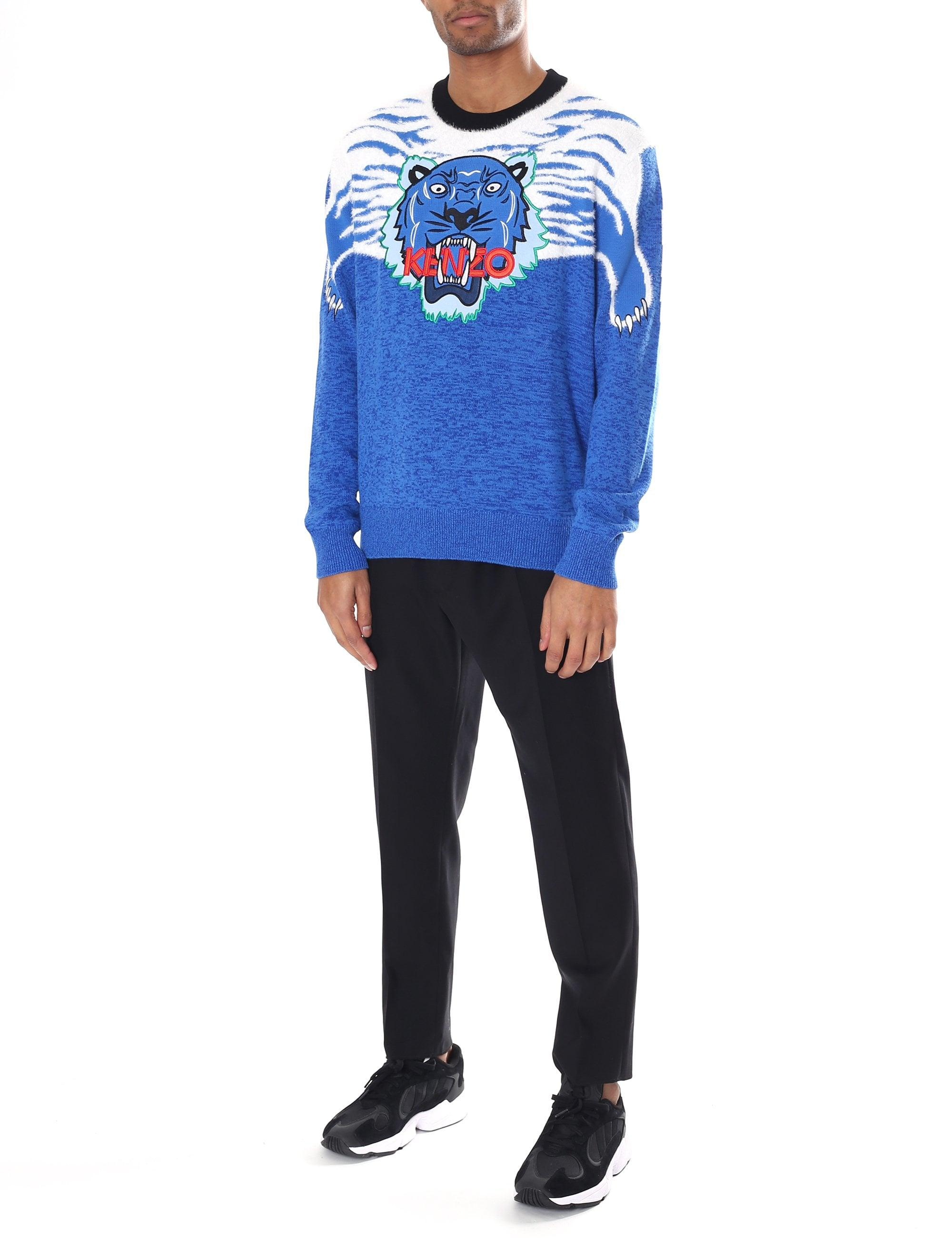 7c2a6a6970 KENZO Patterned Icon Tiger Sweater in Blue for Men - Save 20% - Lyst