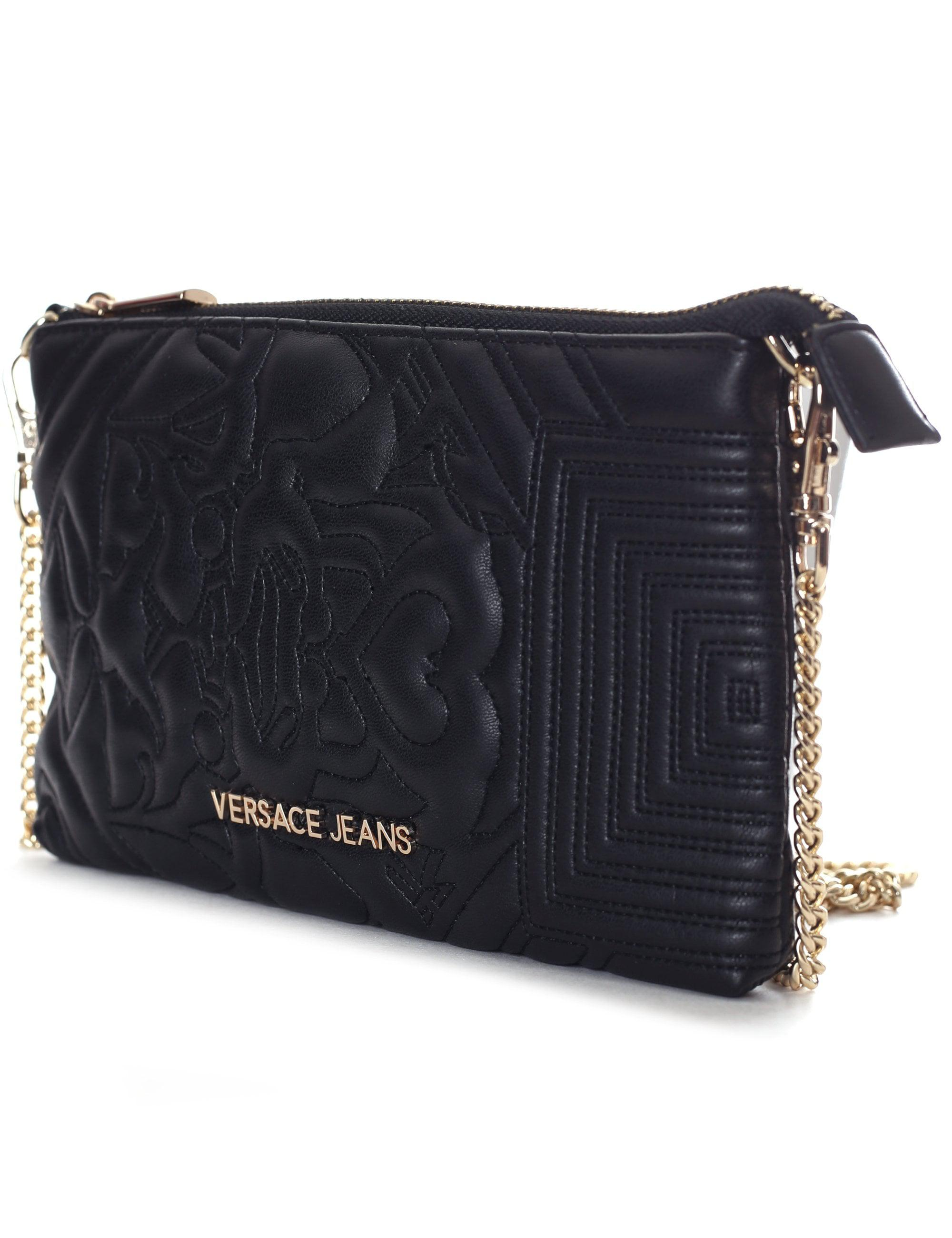 8b9970aec208 Versace Jeans Quilted Wave Small Crossbody Bag in Black - Lyst