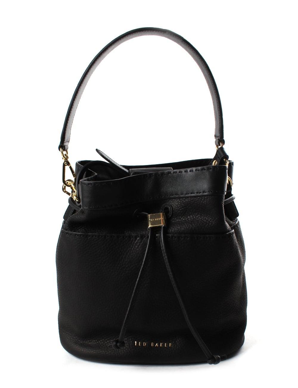 6d0336a8802b Ted Baker - Kashia Stab Stitch Women s Leather Bucket Bag Black - Lyst.  View fullscreen