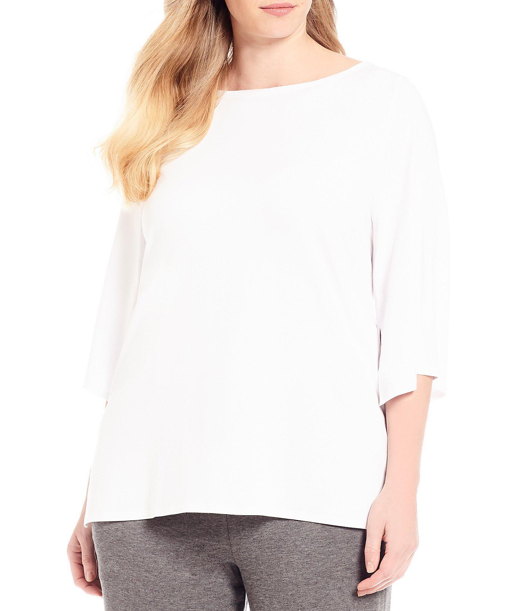 b46750ead3d Lyst - Eileen Fisher Plus Size Bateau Neck Top in White