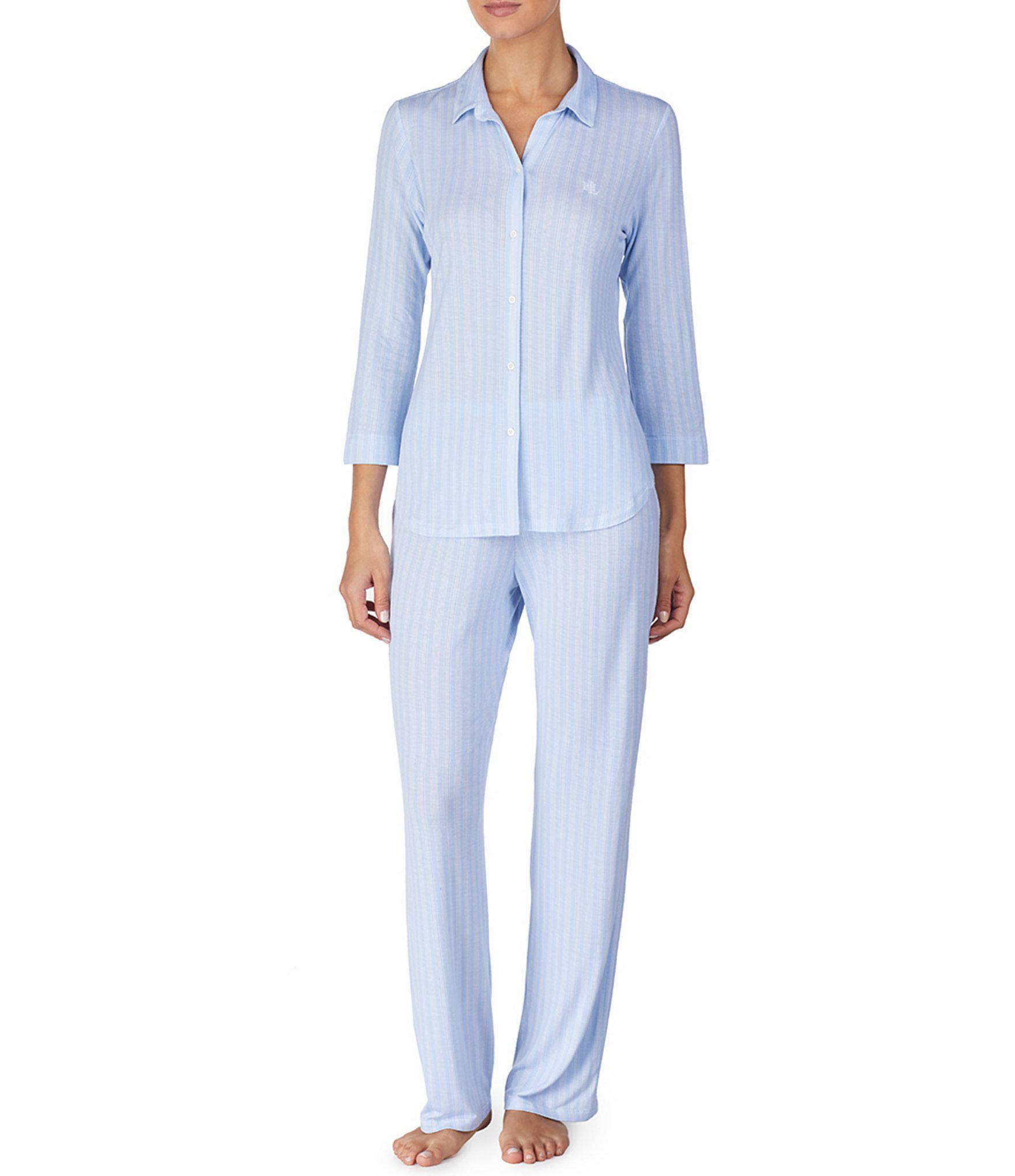 Lauren by Ralph Lauren. Women s Blue Petite Striped-print Jersey Knit  Pajamas 3cd75fcda
