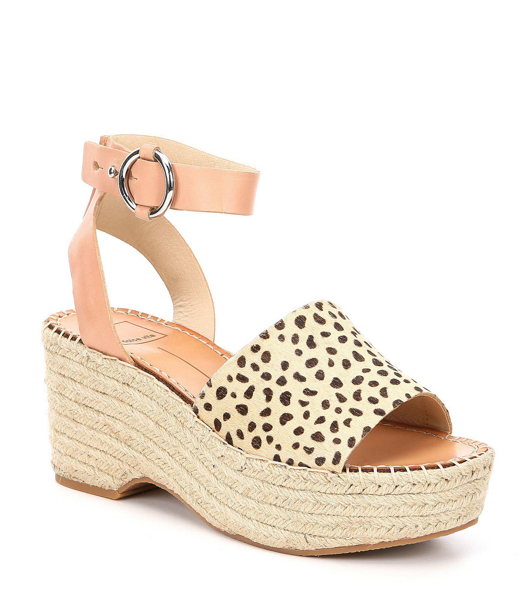 9cadaa9d1da Dolce Vita. Women s Lesly Leopard Print Calf Hair Platform Espadrille  Sandals