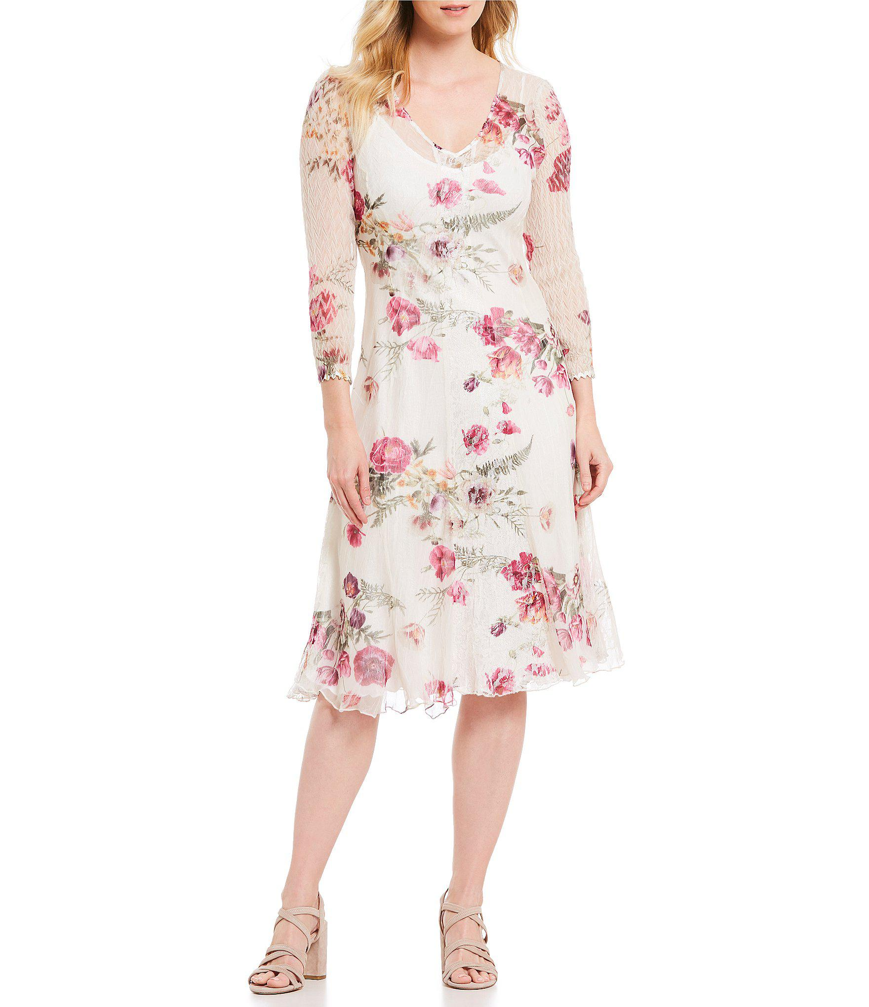 3bc9334c81 Lyst - Komarov V Neck Floral Print Midi Dress