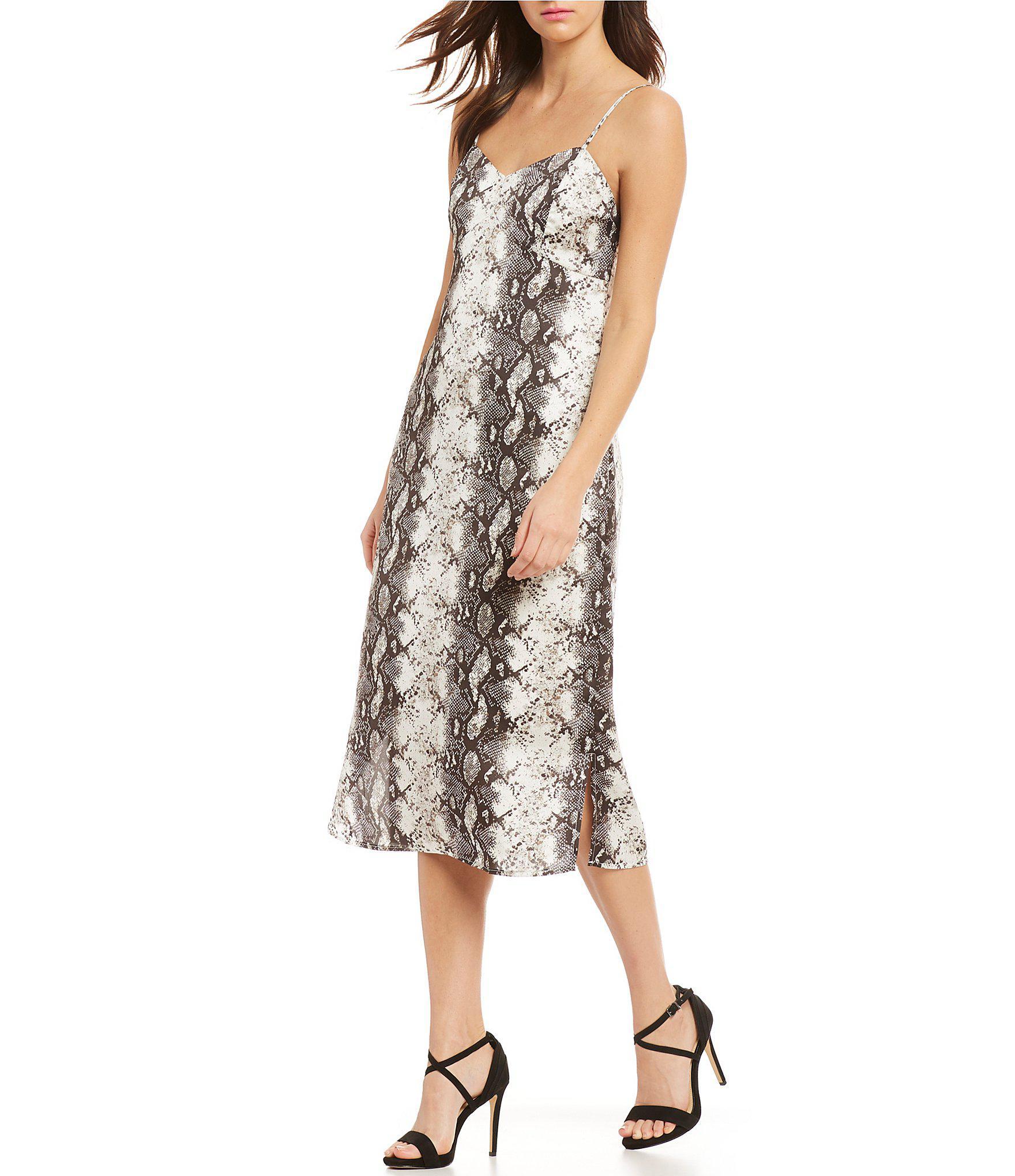 22815eed59 Gianni Bini Tana Python Snake Print Midi Length Slip Dress - Lyst