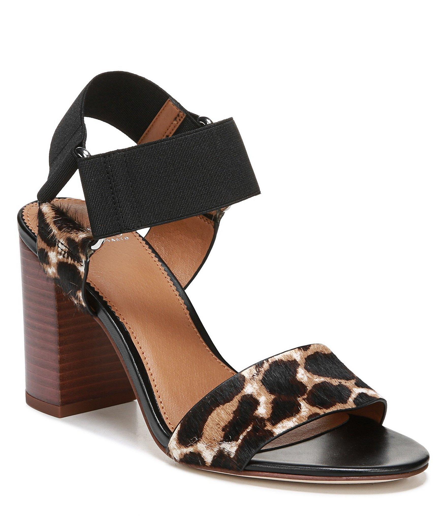91abe5a6c Franco Sarto. Women s Black Sarto By Olivia Leopard Print Calf Hair Block  Heel Dress Sandals