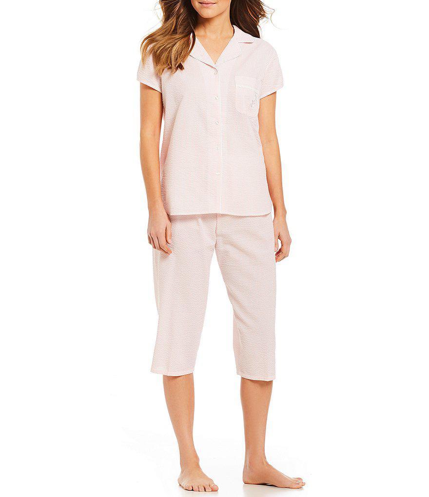 50bb525396 Miss Elaine Seersucker Striped-print Bermuda Pajama Set in Pink - Lyst