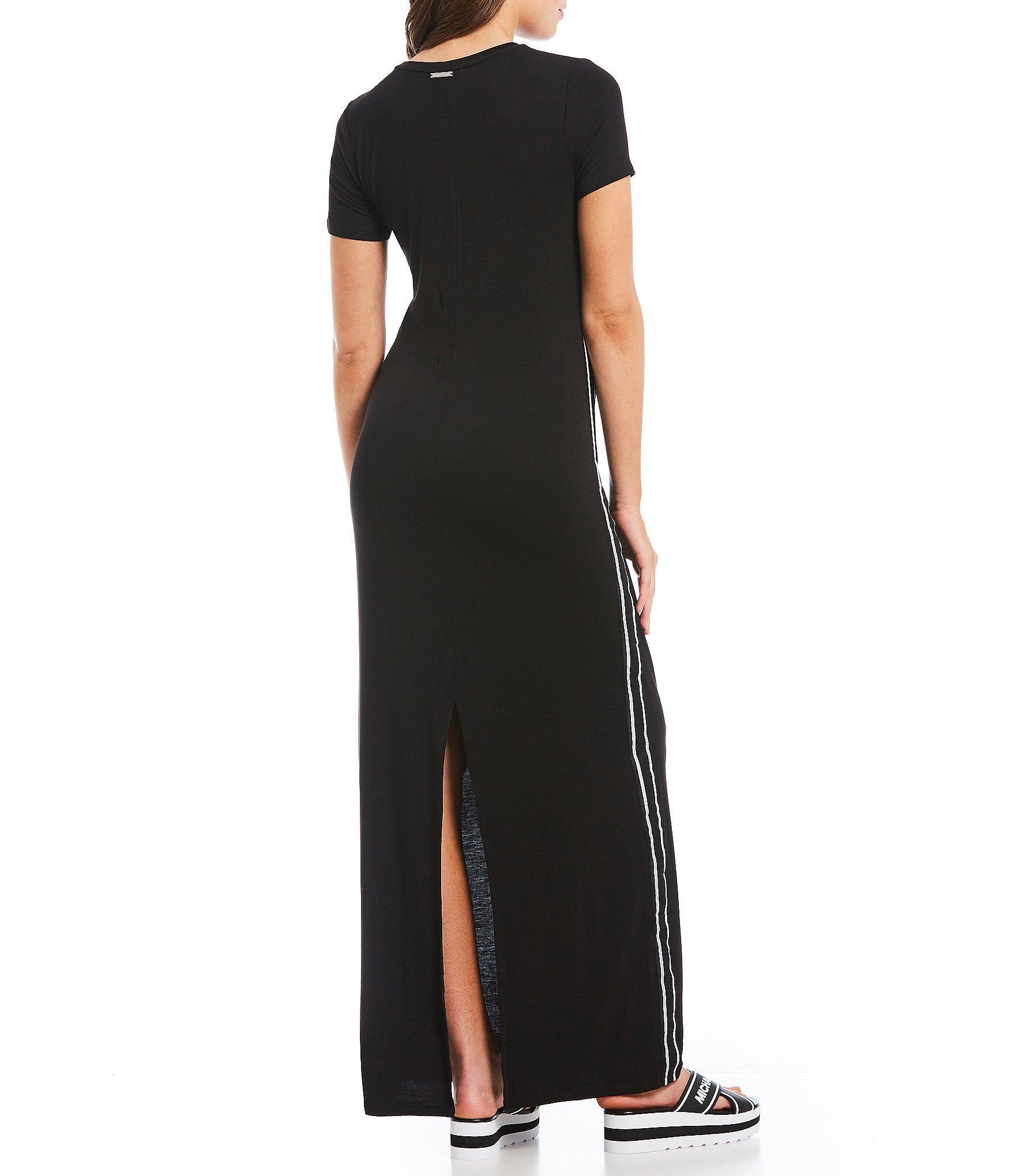 1c2f29c848b8 MICHAEL Michael Kors - Black Logo Tape Trim Knit Jersey Sport Maxi Dress -  Lyst. View fullscreen