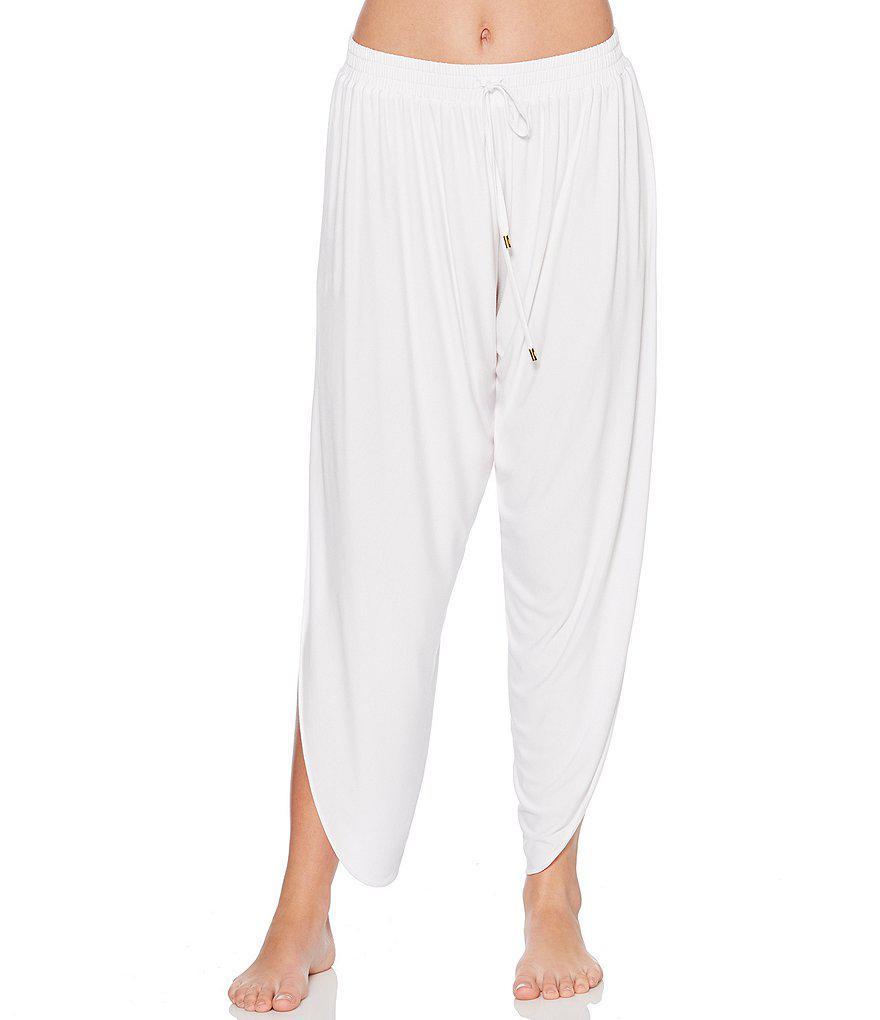 f36b5455cc9 Lyst - Laundry by Shelli Segal Draped Coverup Pants in Black