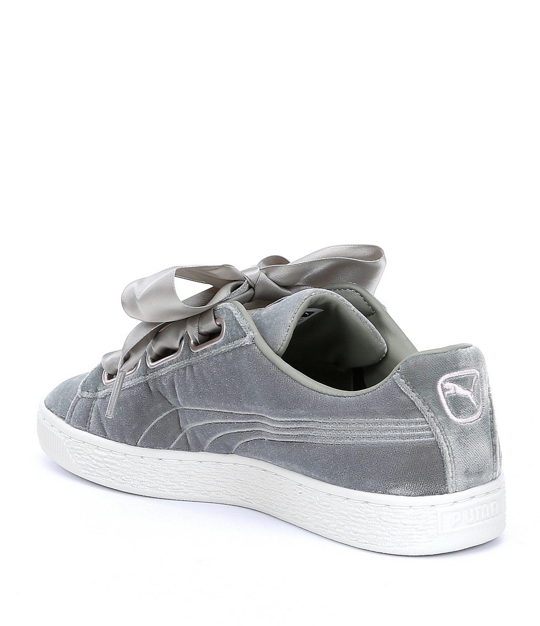 2f125e35711 Lyst - PUMA Basket Heart Hyper Floral Embroidered Velvet Sneakers in ...