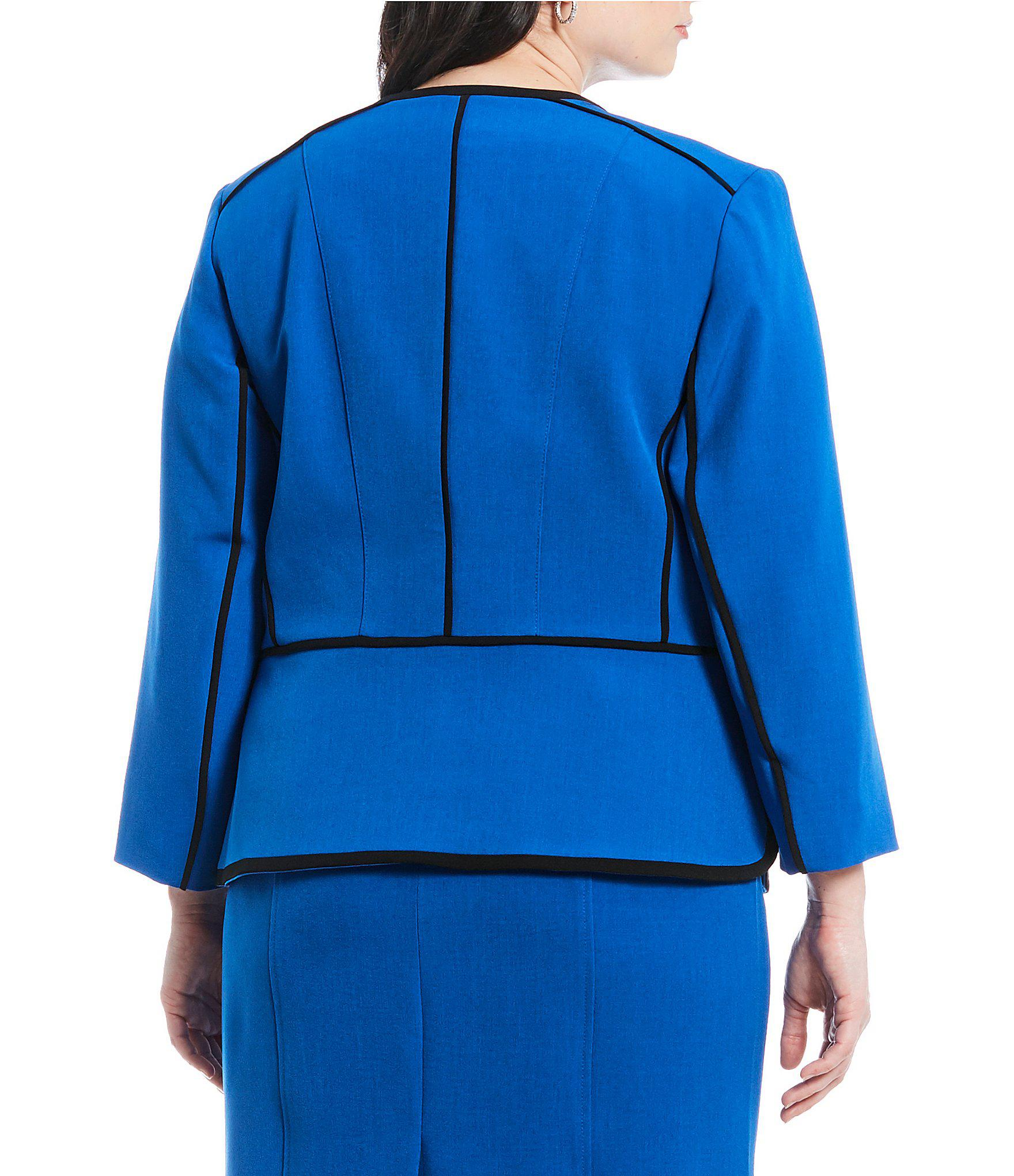 1e103dbfa2b Kasper - Blue Plus Size Stretch Crepe Piping Detail Jacket - Lyst. View  fullscreen