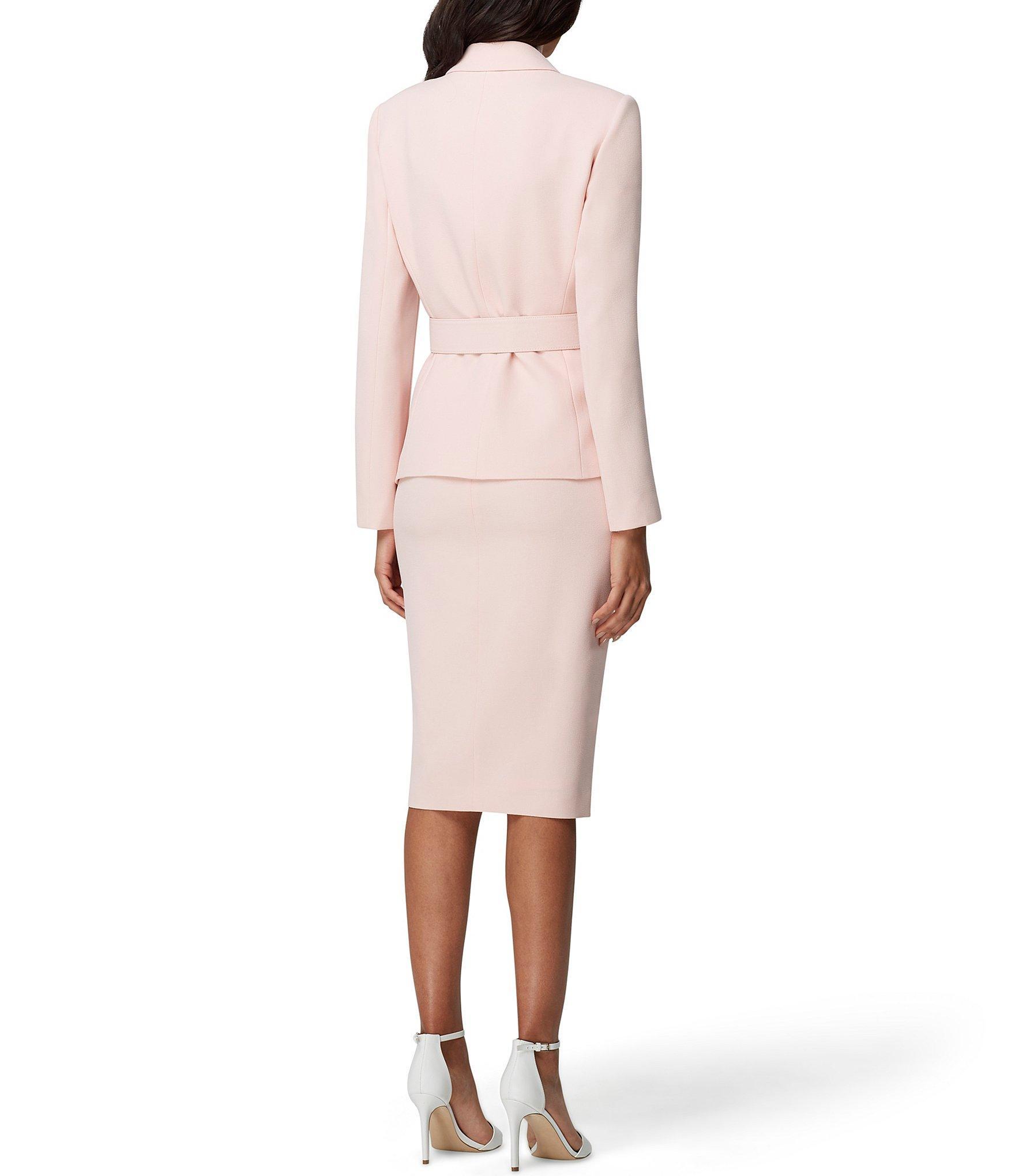 906333acc67 Tahari - Pink Belted Jacket Skirt Suit - Lyst. View fullscreen