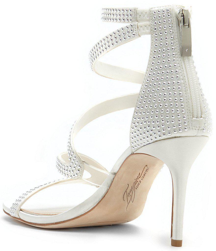 Imagine Vince Camuto Prest Satin Pin Dot Hardware Back Zip Strappy Dress Sandals u5lNKI