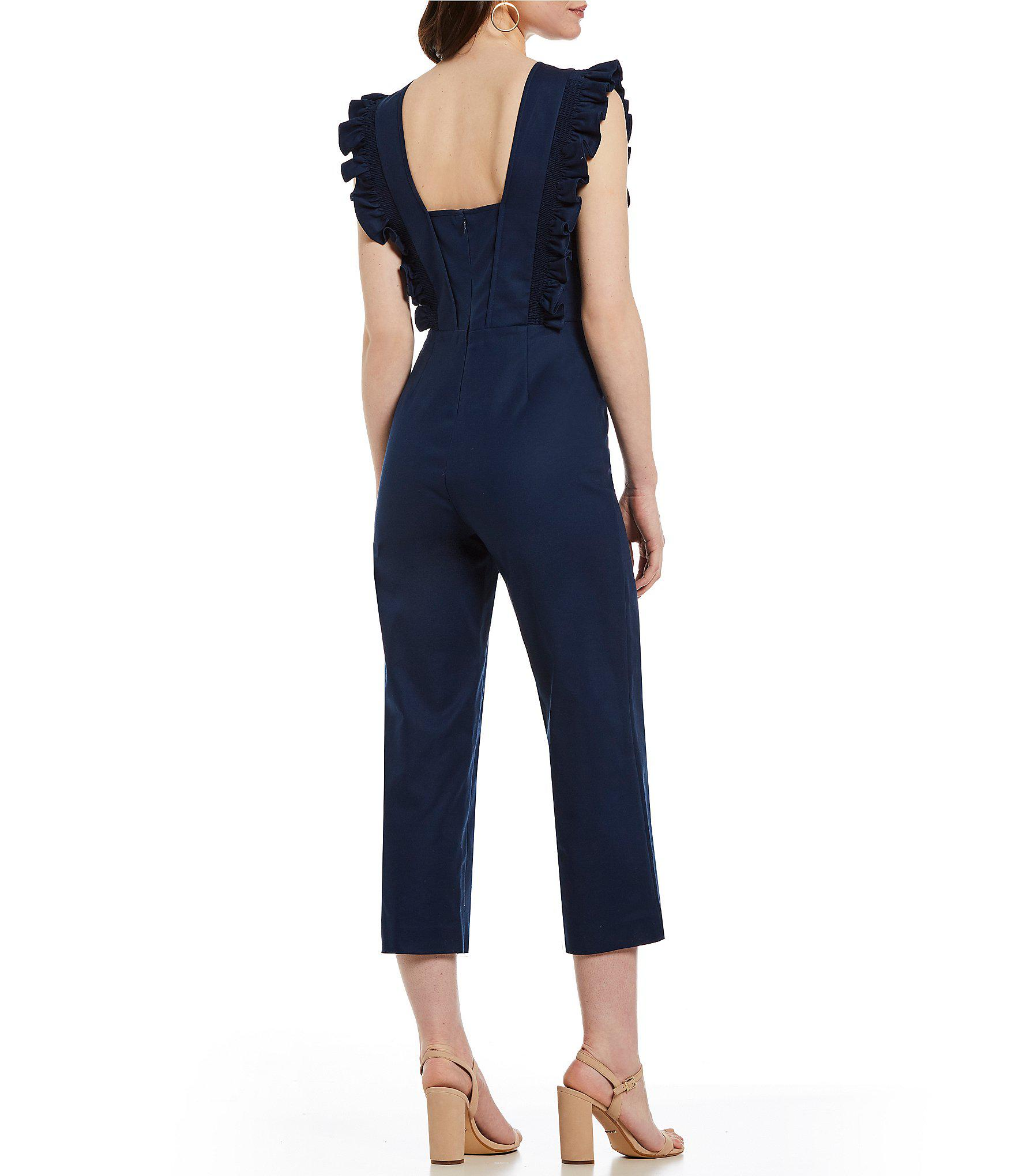 8656924bc27b Gianni Bini Liam Ruffle Shoulder Cropped Jumpsuit in Blue - Lyst