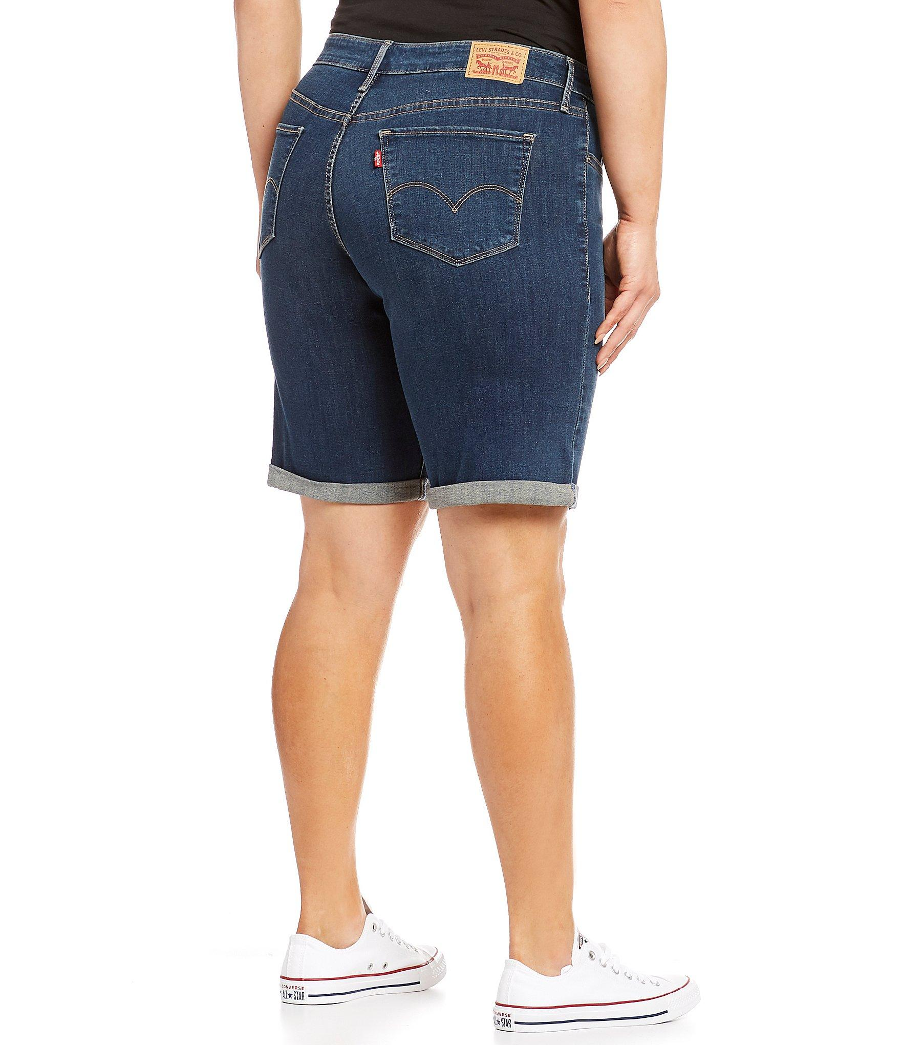 c6a55ceb Levi's - Blue Plus Size Shaping Bermuda Shorts - Lyst. View fullscreen