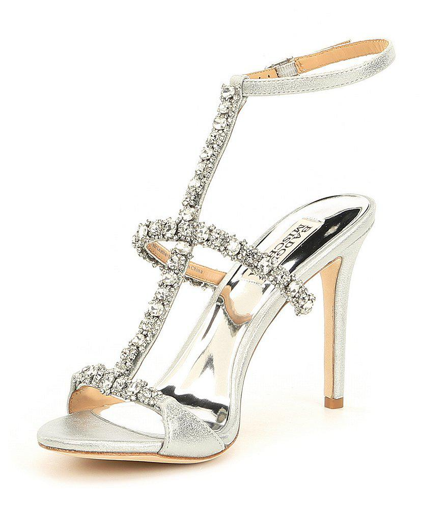 Badgley Mischka Yuliana Rhinestone Jeweled Metallic Suede Strappy Dress Sandals jY7rUGhT8w