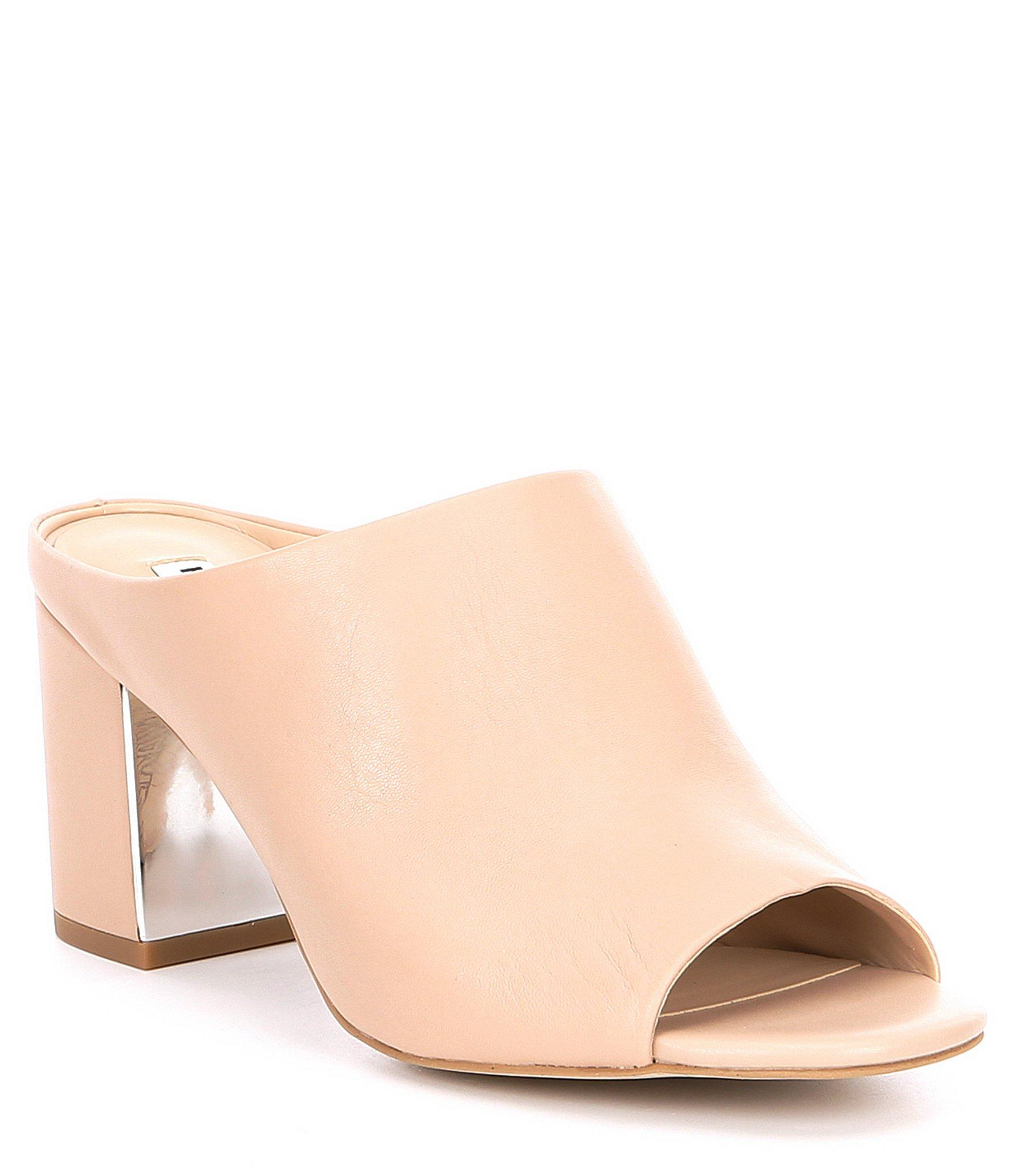 8a6c785133 Lyst - Karl Lagerfeld Jensen Leather Block Heel Mules in Natural