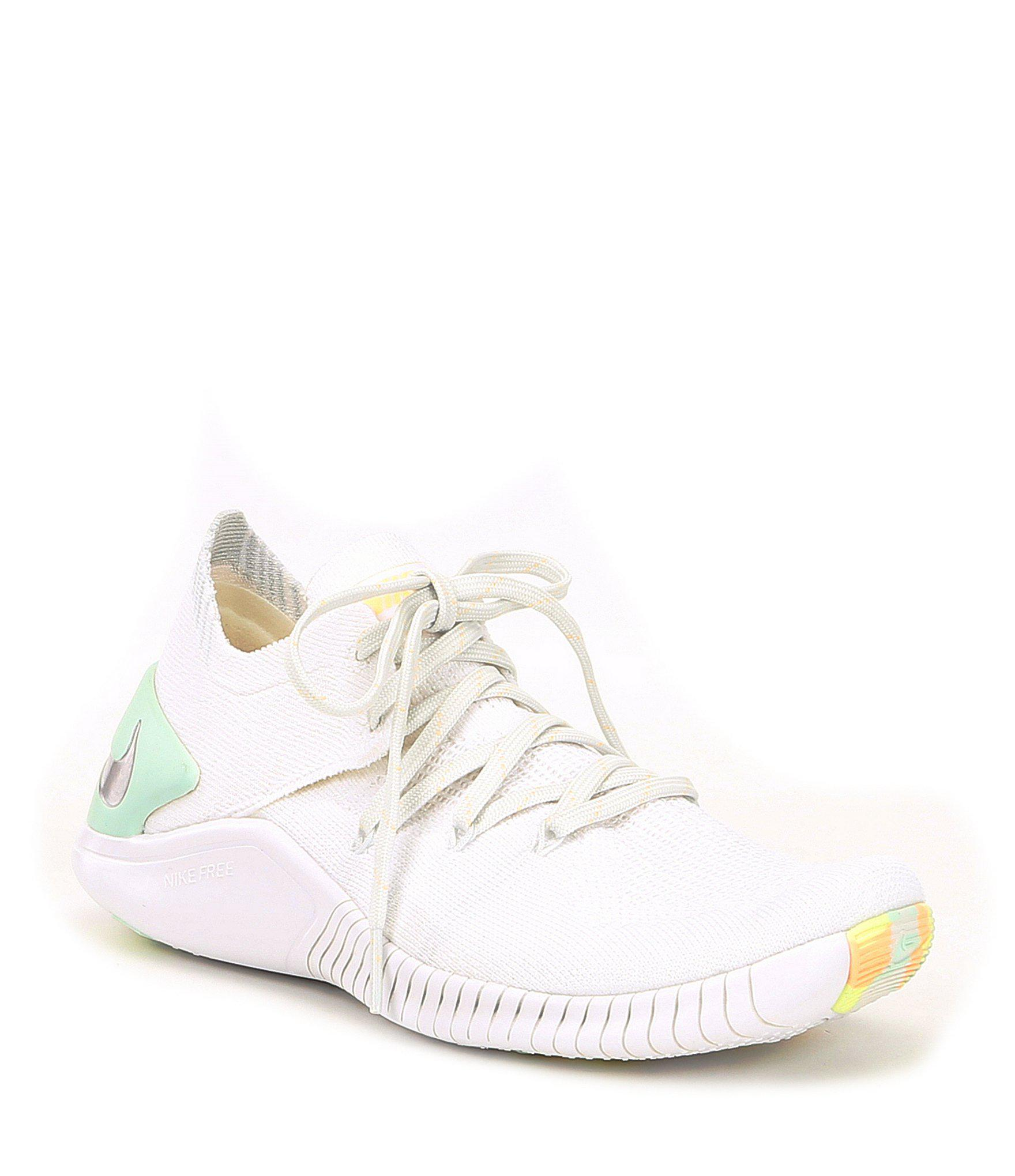 27fd61e46578 Lyst - Nike Women s Free Tr Flyknit 3 Rise Training Shoes in White