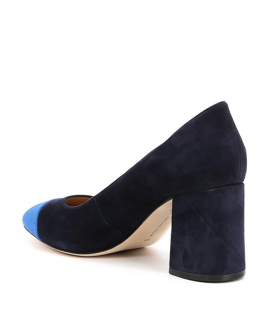 Belitsa Suede Colorblock Block Heel Pumps IXJMheTWz